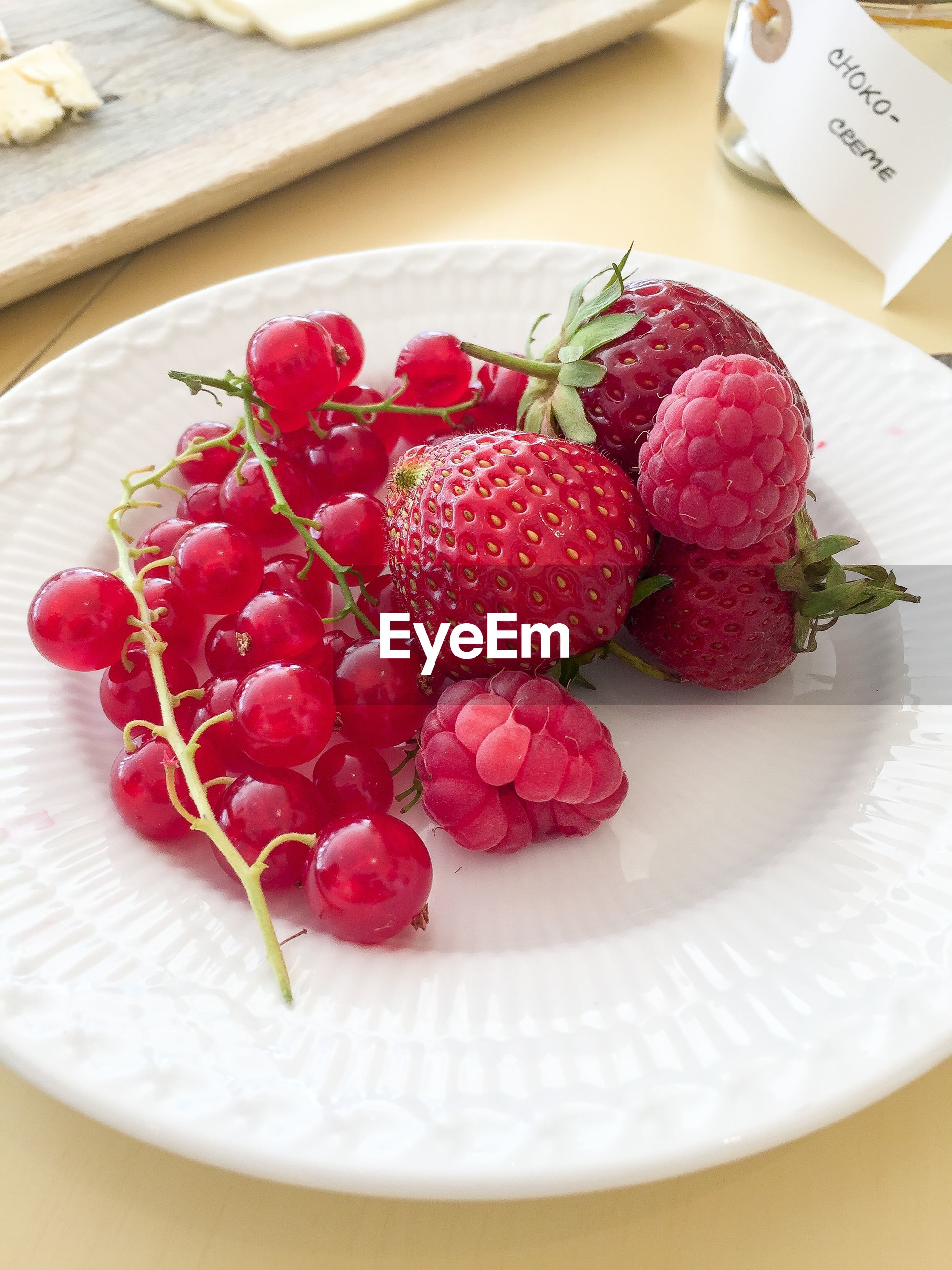 Close-up of berry fruits in plate