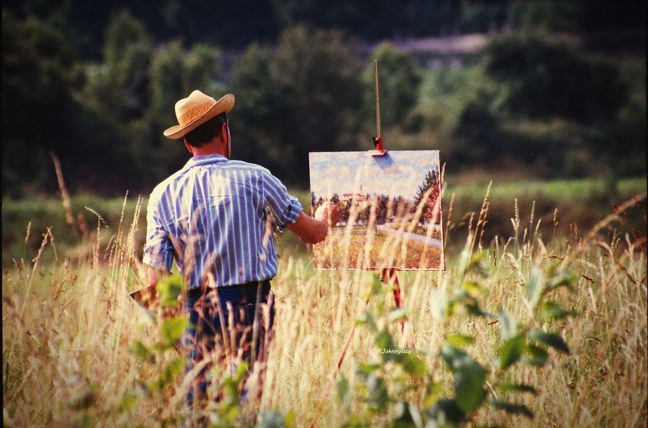 field, rear view, grass, hat, outdoors, real people, leisure activity, day, nature, one person, standing, scarecrow, growth, landscape, men, freshness, people