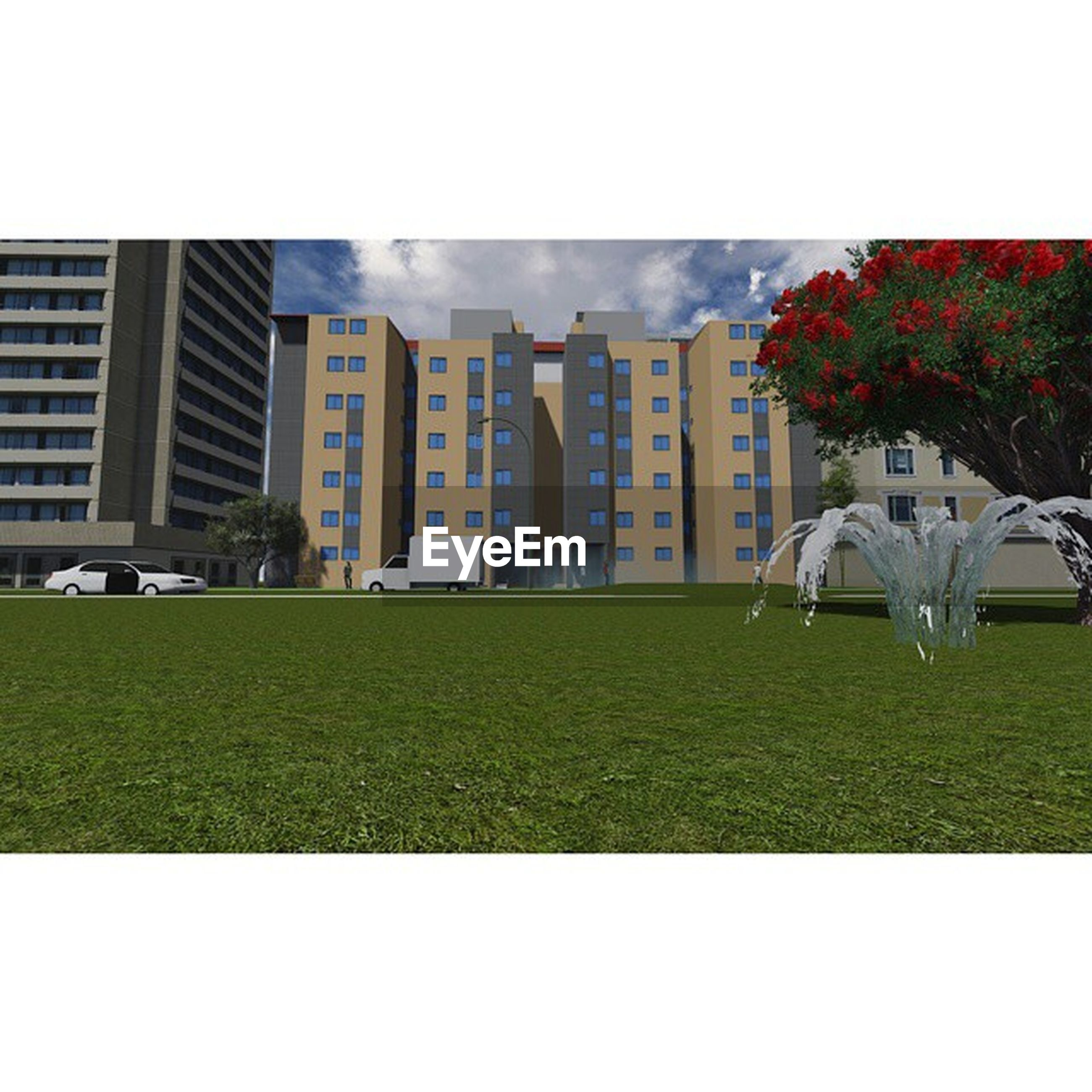 grass, building exterior, architecture, built structure, lawn, transfer print, grassy, field, auto post production filter, green color, sky, park - man made space, growth, tree, city, day, clear sky, flower, outdoors, plant
