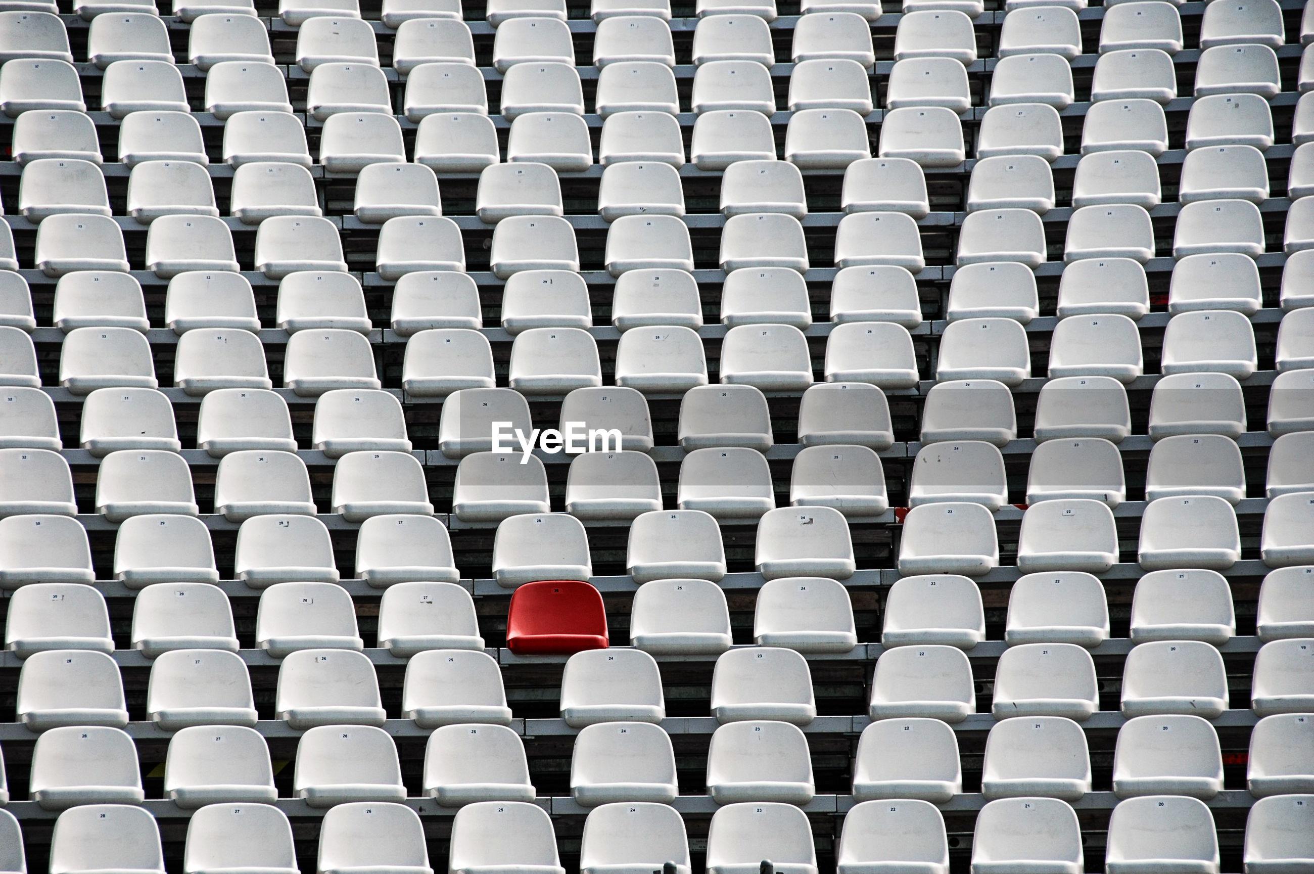 Full frame shot of seats at stadium