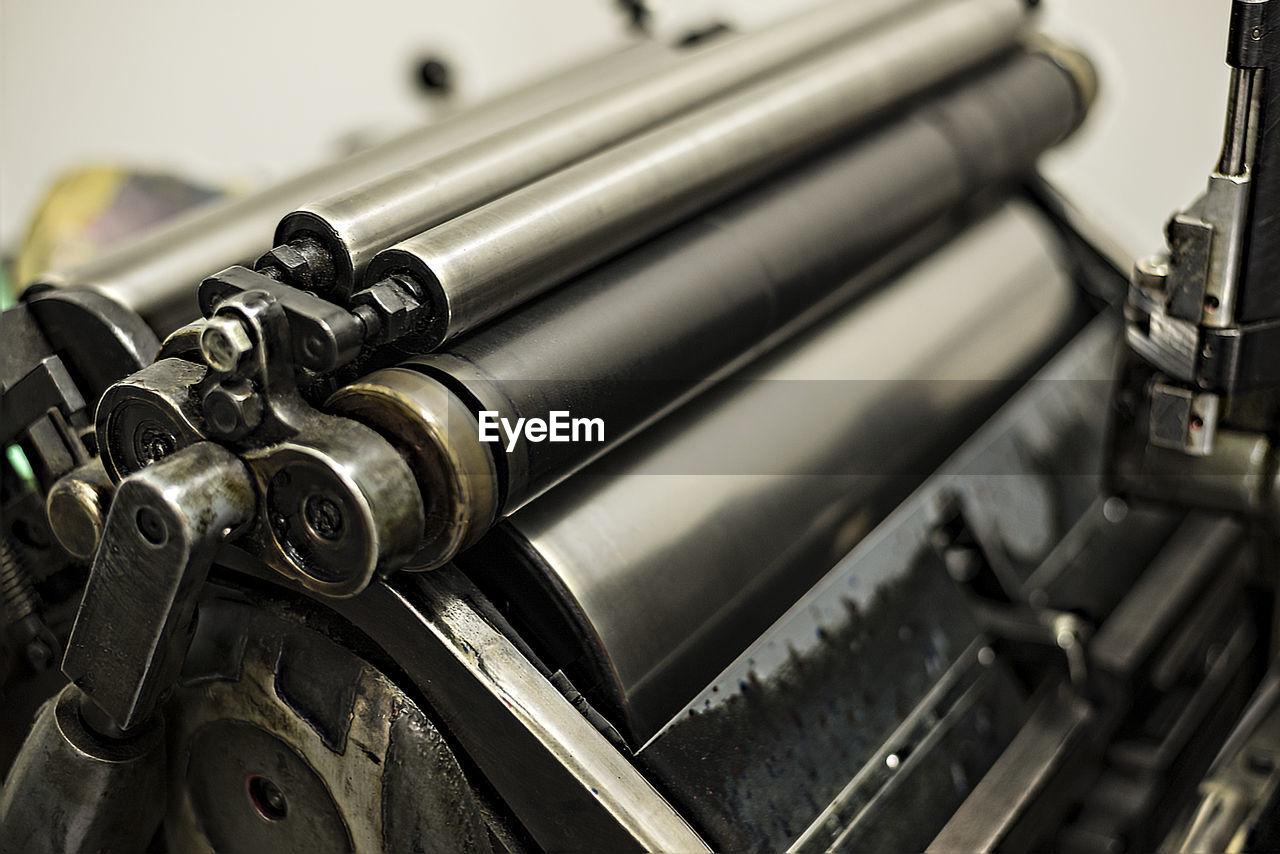Close-up of printing press