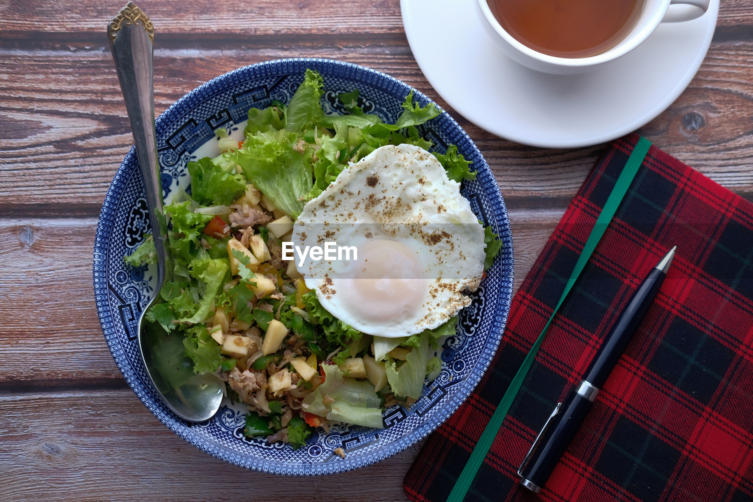 Egg and salad in a plate