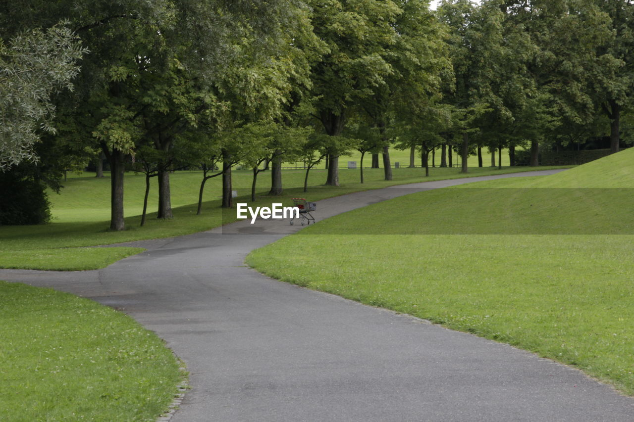 Empty footpath at park