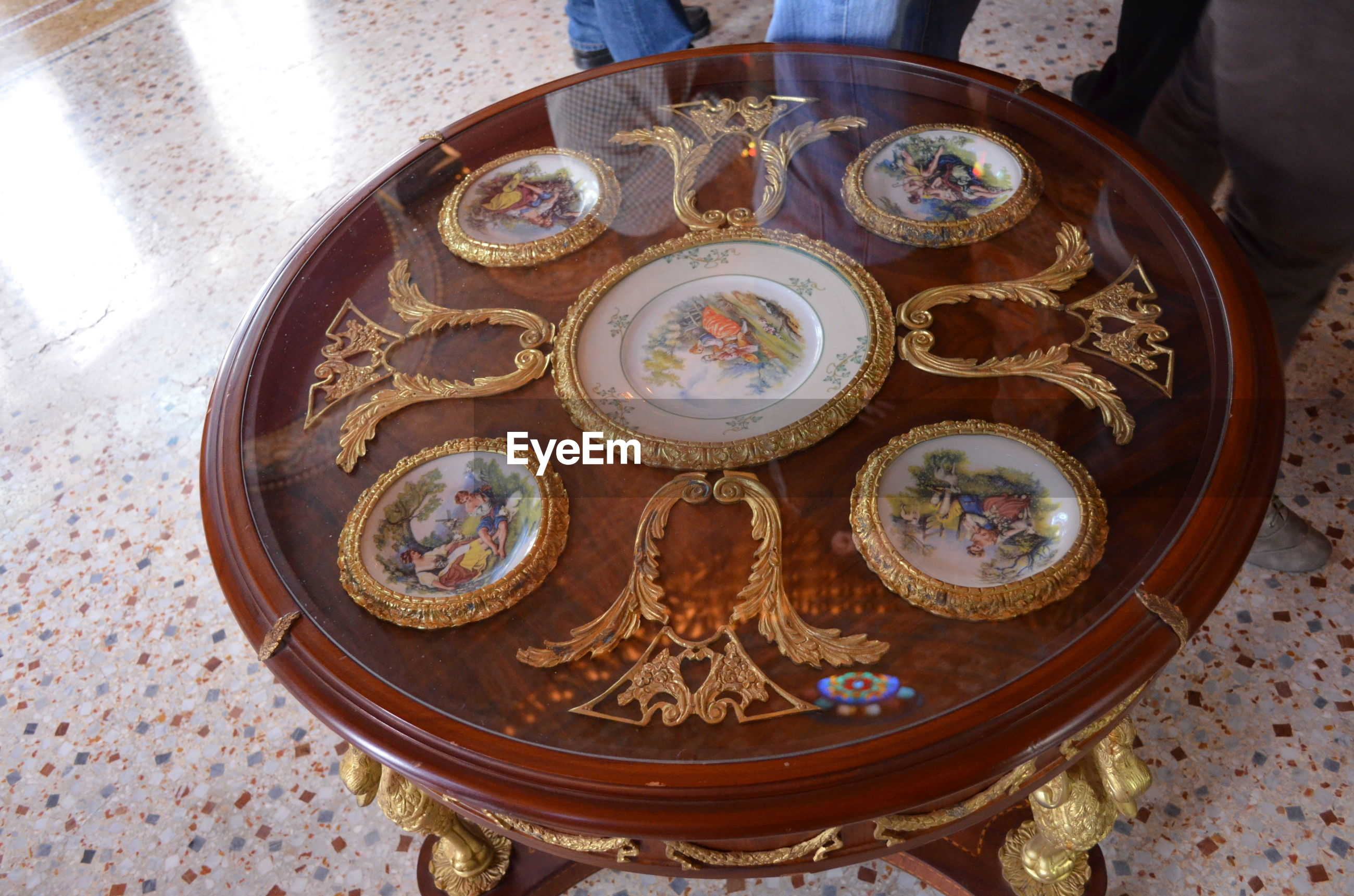 High angle view of decorative wooden table