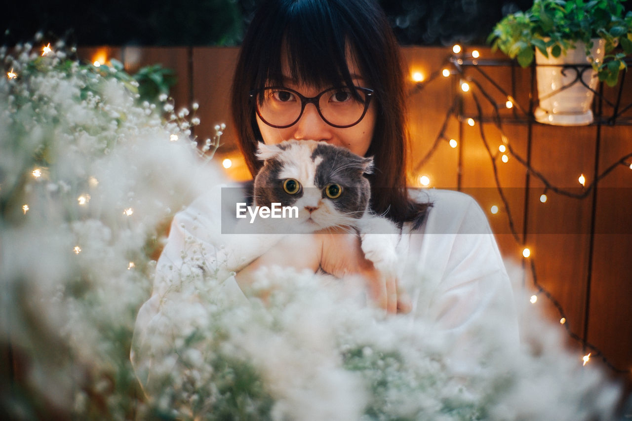 animal themes, pets, animal, domestic, cat, portrait, mammal, domestic animals, one animal, domestic cat, feline, one person, illuminated, celebration, vertebrate, looking at camera, real people, christmas decoration, holiday, christmas, pet owner