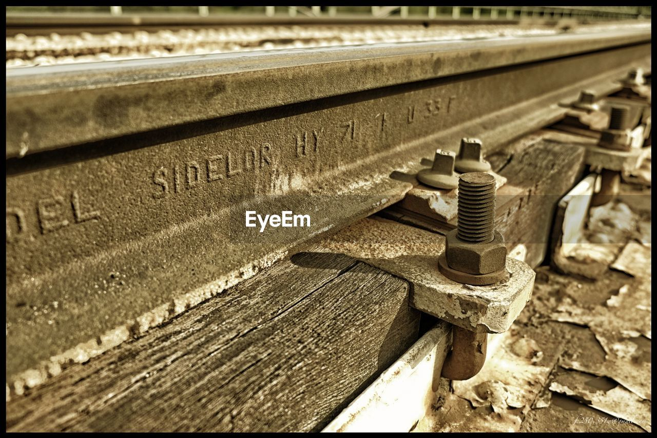 metal, railroad track, day, no people, outdoors, abandoned, rusty, close-up