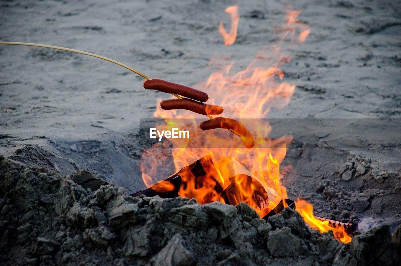 Roasting Hot Dogs In Bonfire