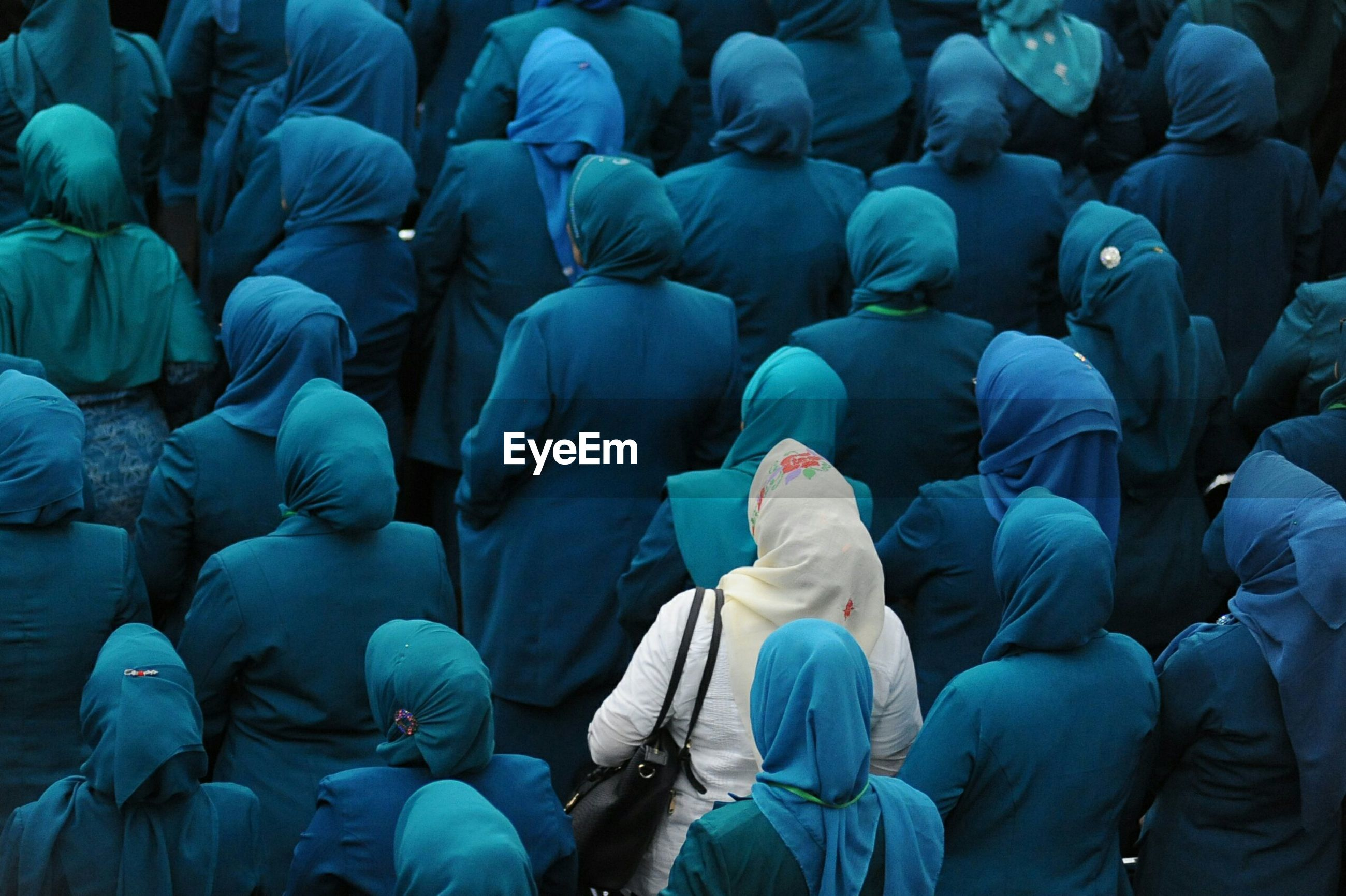 Full frame shot of women wearing hijabs