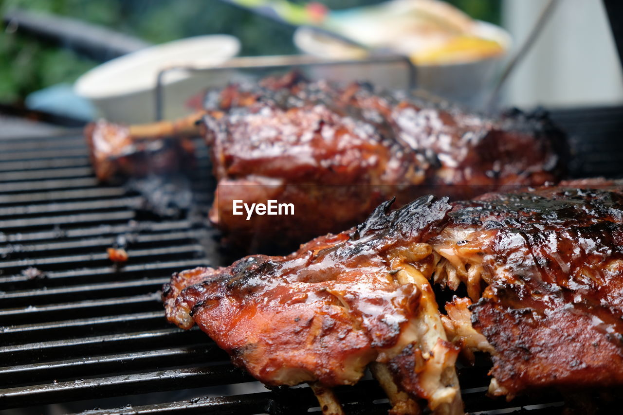 CLOSE-UP OF MEAL ON BARBECUE GRILL