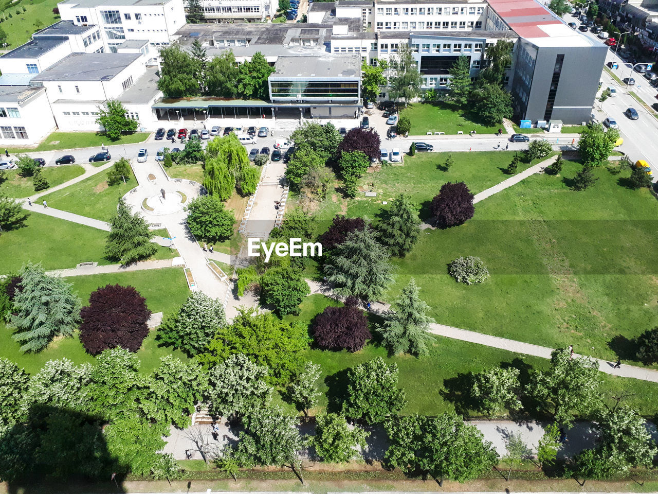 HIGH ANGLE VIEW OF TREES AND BUILDINGS