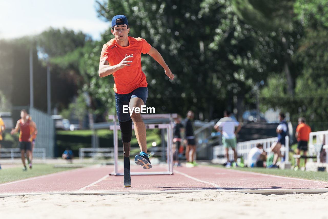 Man With Prostethic Leg Doing Athletics