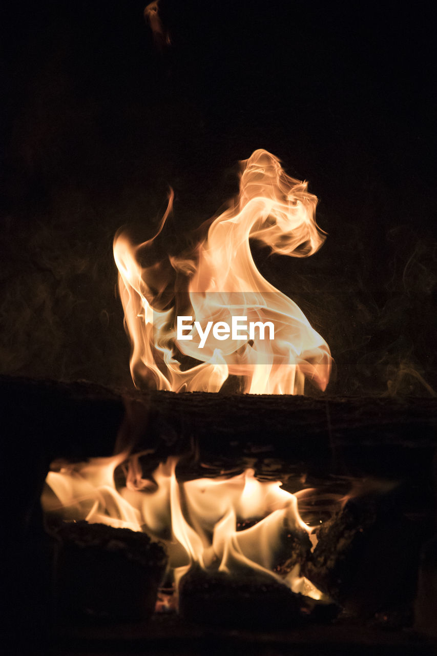 fire, burning, heat - temperature, flame, fire - natural phenomenon, night, glowing, nature, motion, no people, log, firewood, close-up, orange color, wood - material, dark, wood, environment, bonfire, event