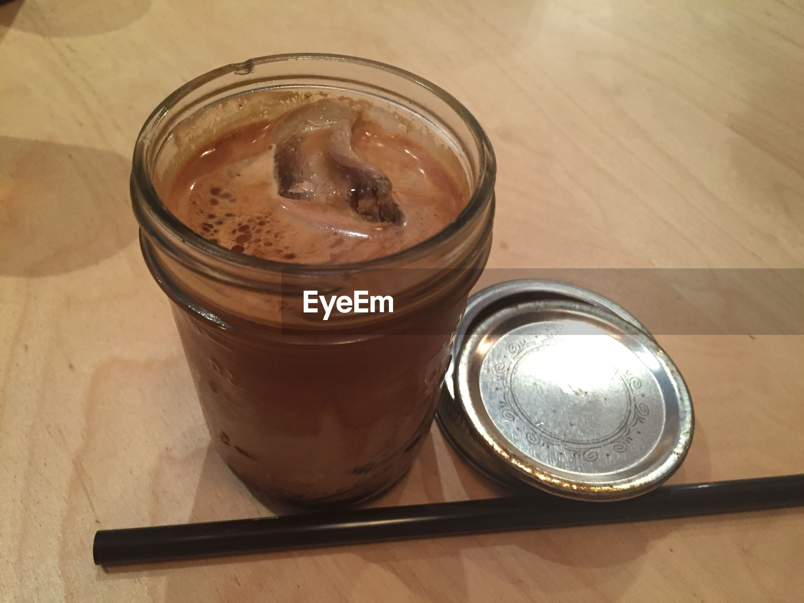 High angle view of iced mocha on table