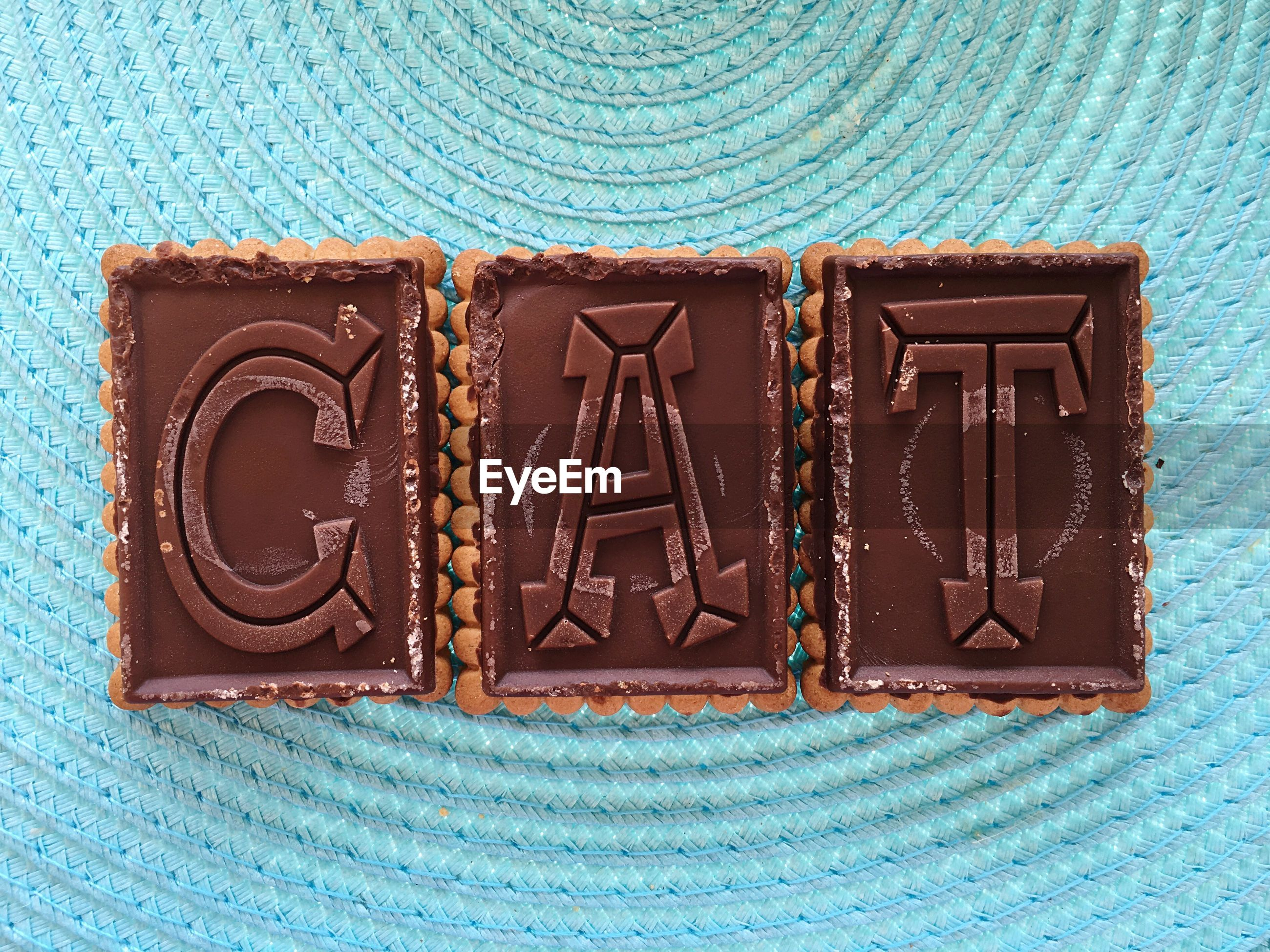Directly above shot of alphabets on chocolates