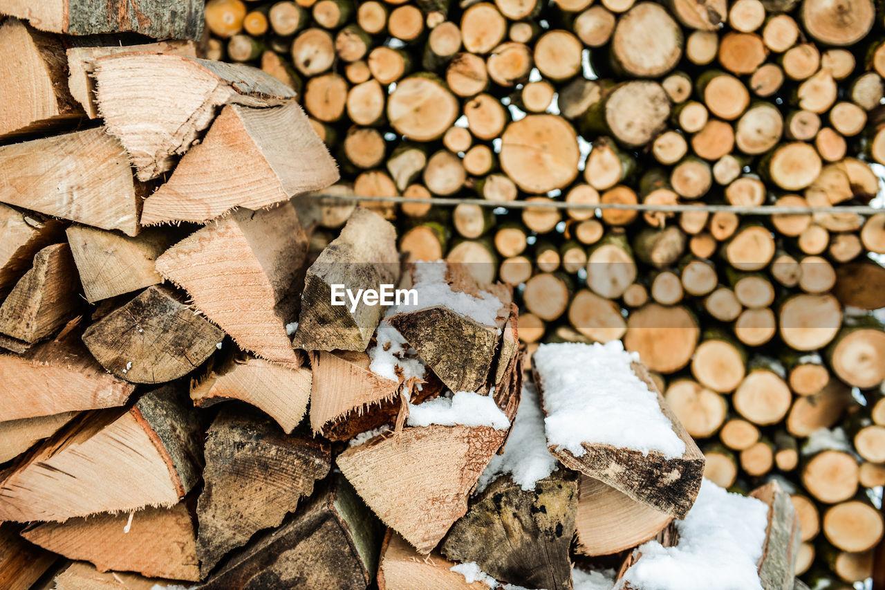Full Frame Shot Of Logs During Winter