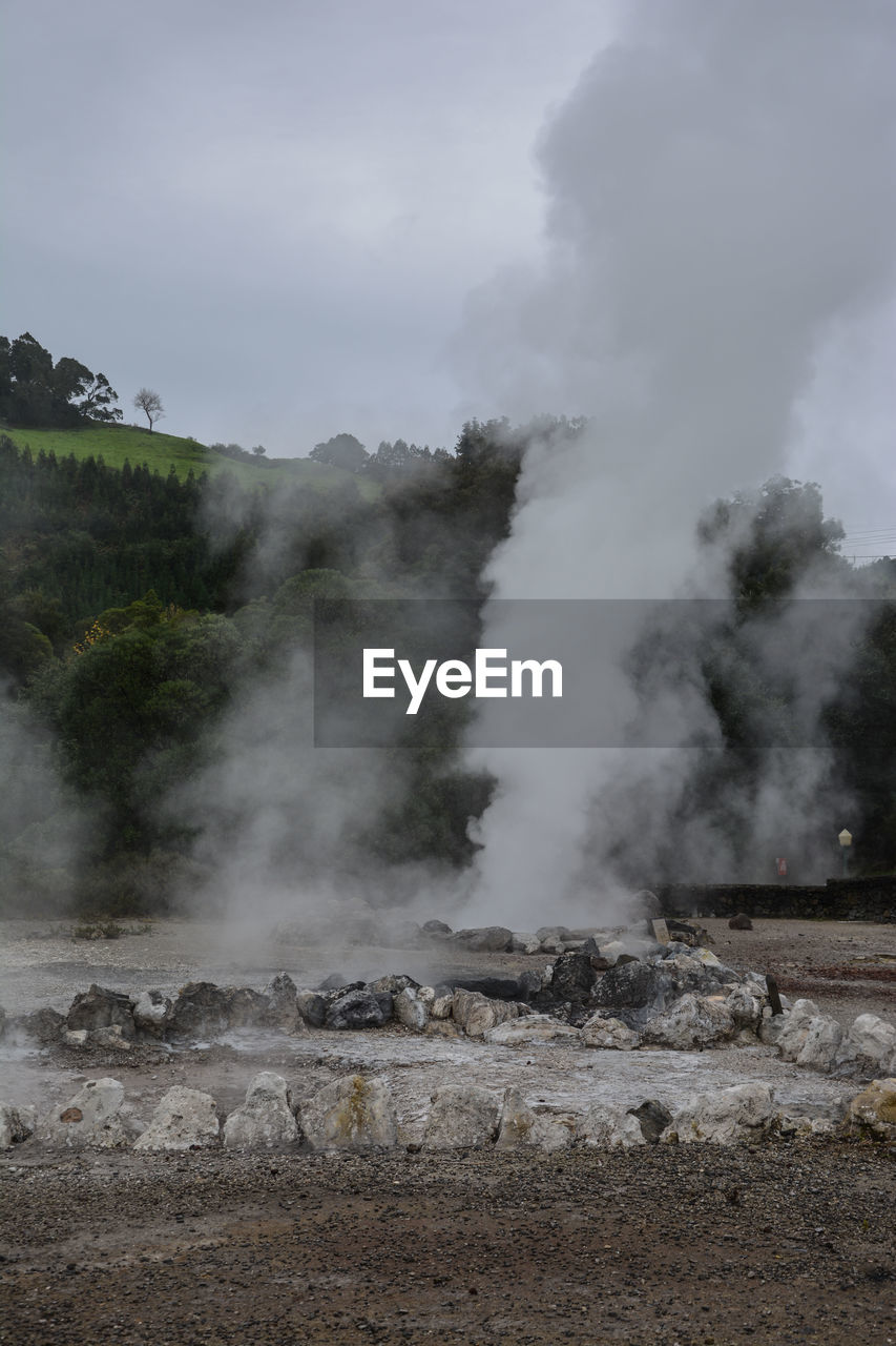 smoke - physical structure, steam, geology, environment, hot spring, heat - temperature, sky, day, nature, physical geography, non-urban scene, no people, scenics - nature, beauty in nature, power in nature, landscape, outdoors, geyser, environmental issues, emitting, pollution, air pollution