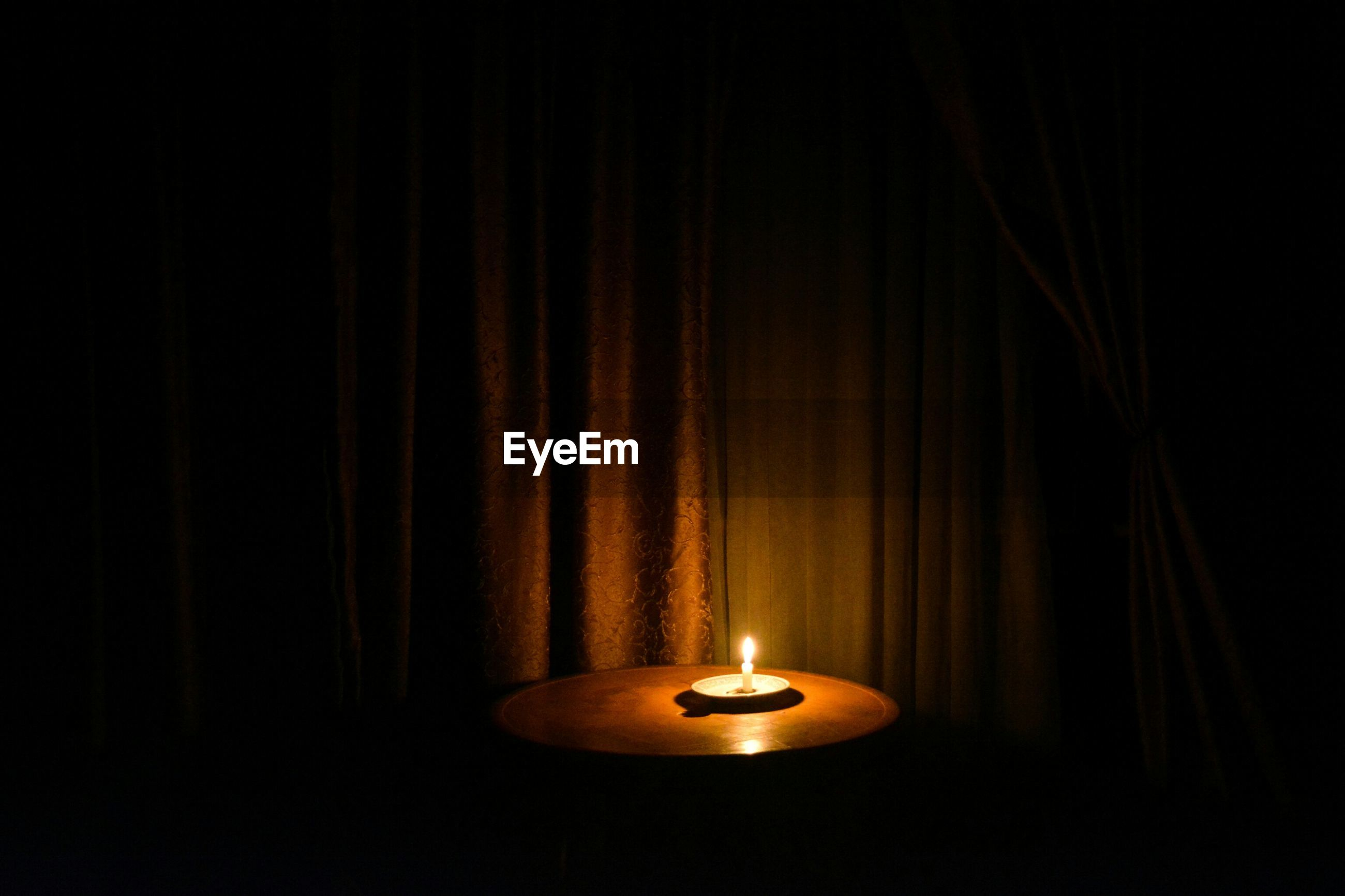 curtain, no people, candle, flame, indoors, illuminated, close-up, night