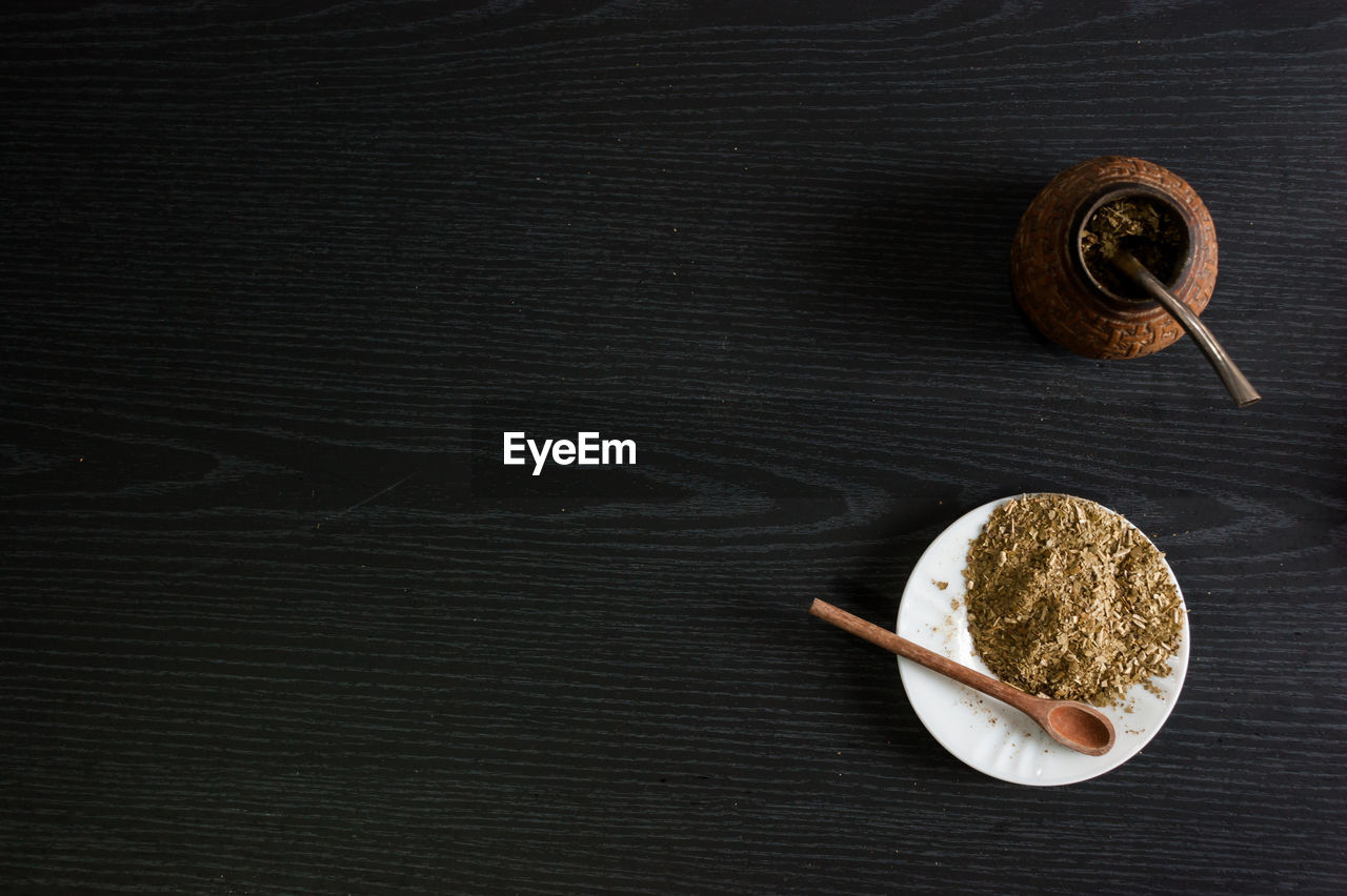 food and drink, food, table, directly above, still life, indoors, wellbeing, high angle view, wood - material, no people, freshness, healthy eating, drink, close-up, cup, tea, refreshment, container, kitchen utensil, spoon, wood grain