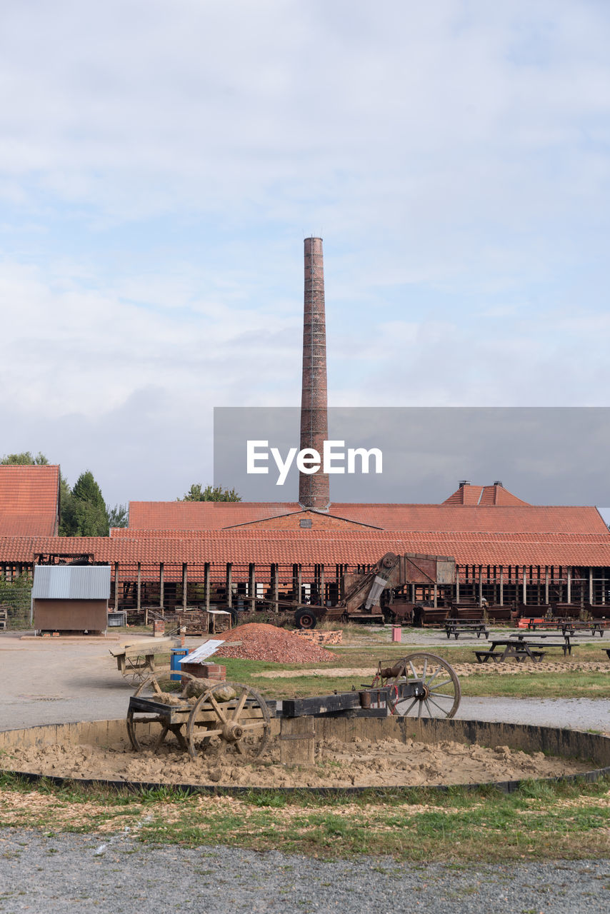 View Of Factory Against Cloudy Sky