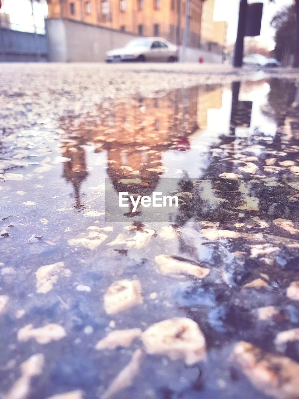 CLOSE-UP OF REFLECTION IN PUDDLE