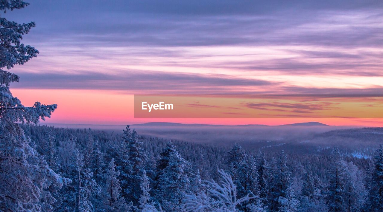 Scenic View Of Snow Covered Trees On Mountains Against Sky During Sunset