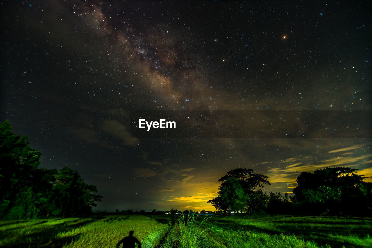 Milky Way Over Green Landscape At Night