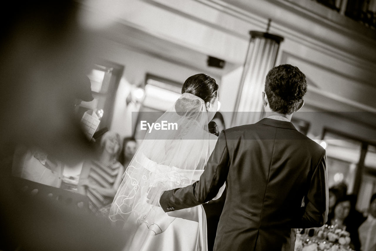Rear View Of Newlyweds