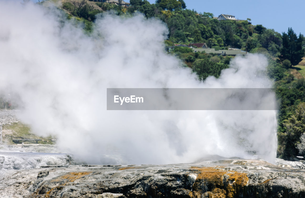 beauty in nature, power in nature, scenics - nature, smoke - physical structure, geology, power, nature, steam, erupting, water, heat - temperature, motion, no people, day, non-urban scene, environment, physical geography, hot spring, mountain, outdoors