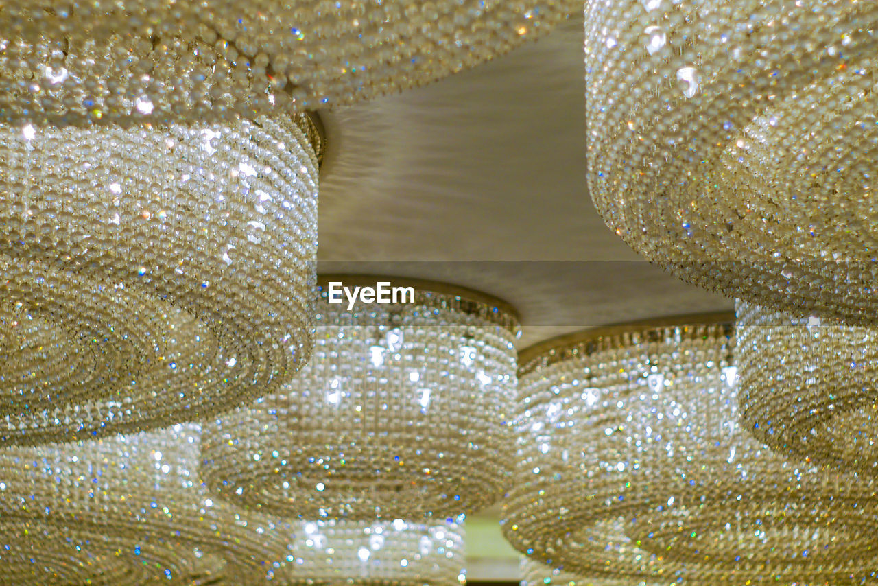 Low angle view of modern chandeliers