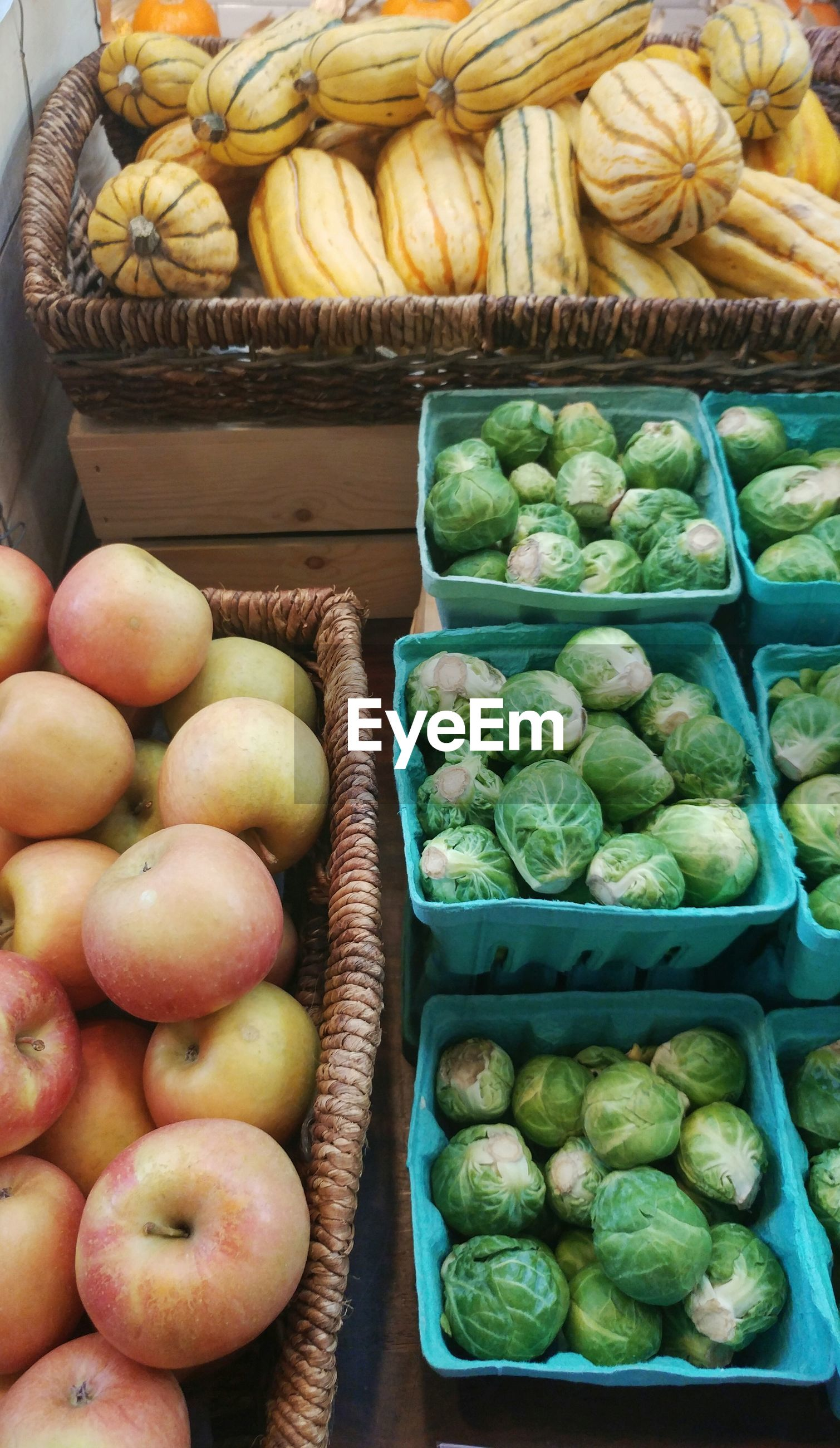 High angle view of fruits and vegetables in basket for sale