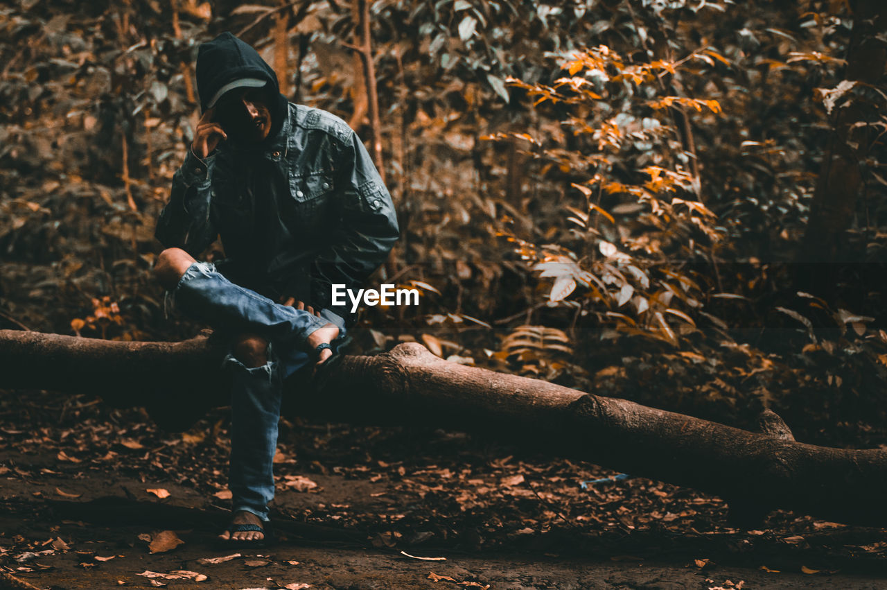 Man Sitting On Log In Forest