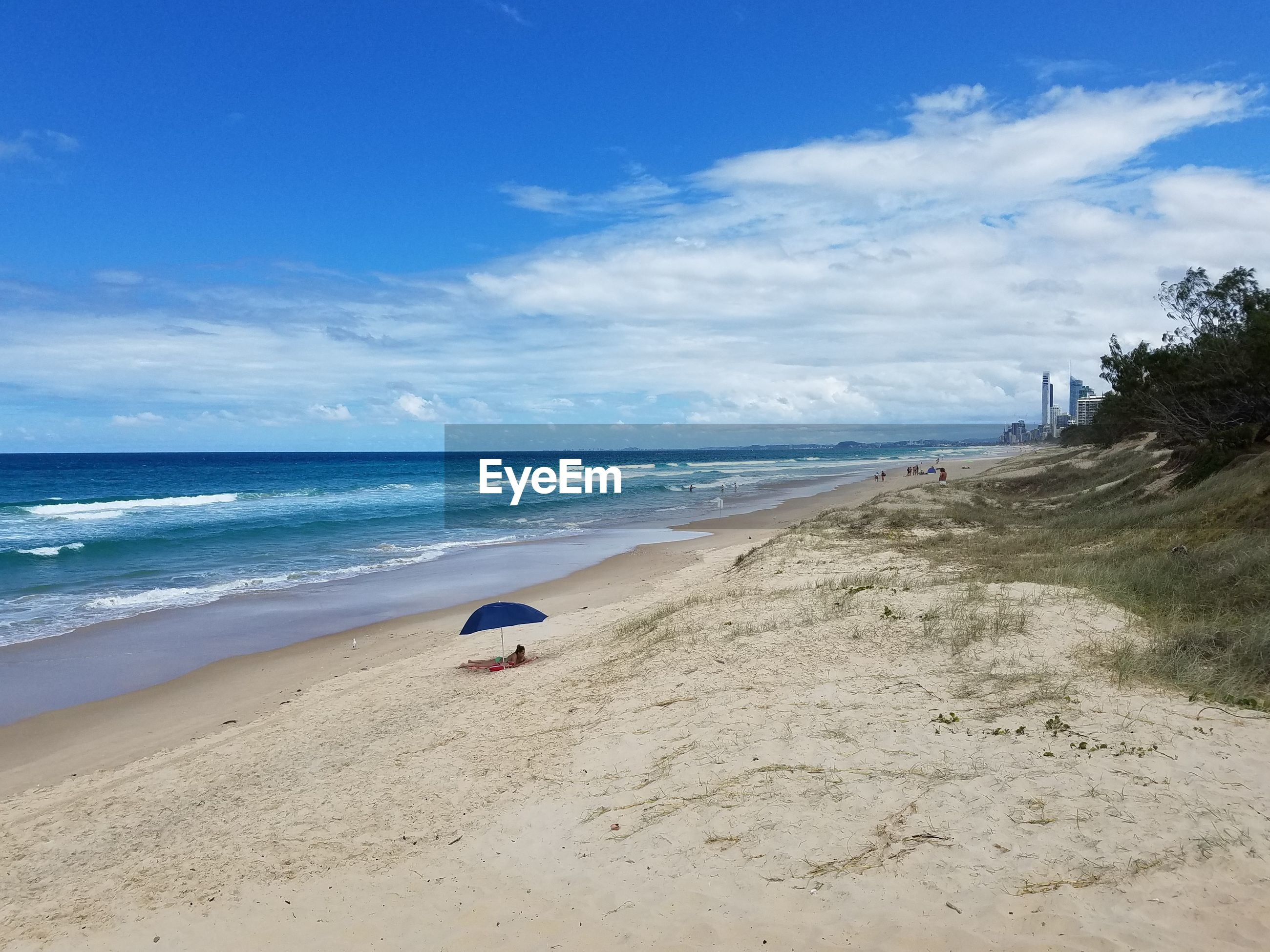 Scenic view of beach against sky
