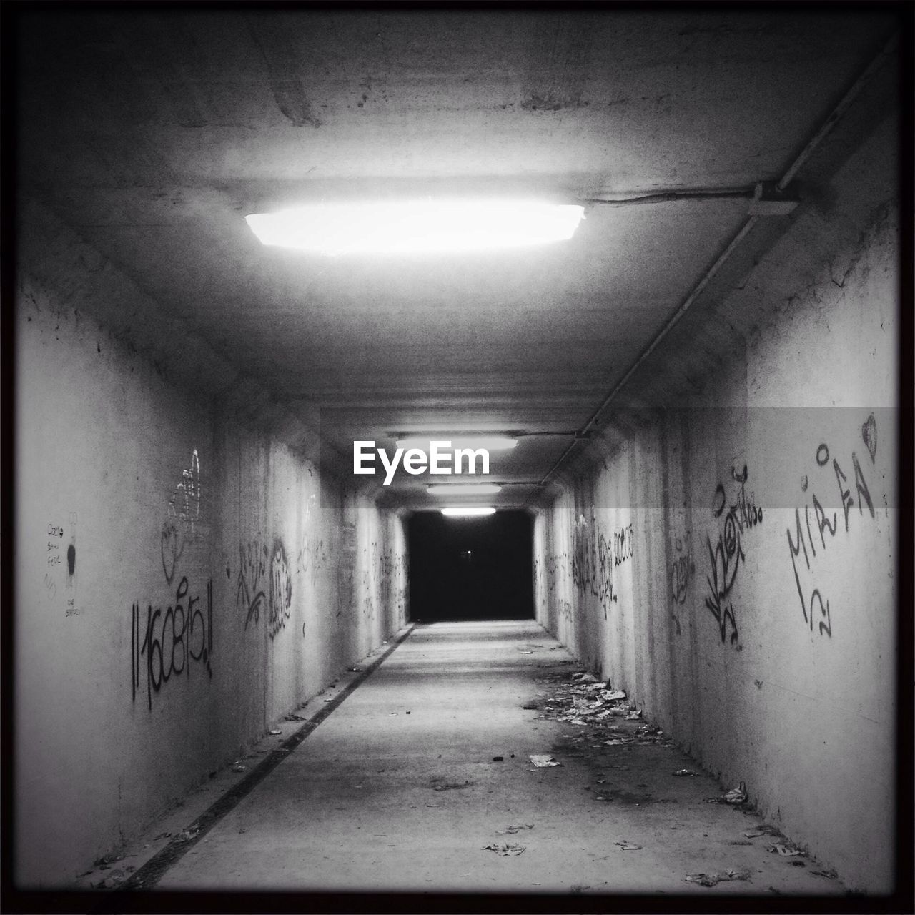 the way forward, illuminated, indoors, graffiti, architecture, built structure, text, lighting equipment, corridor, no people, day