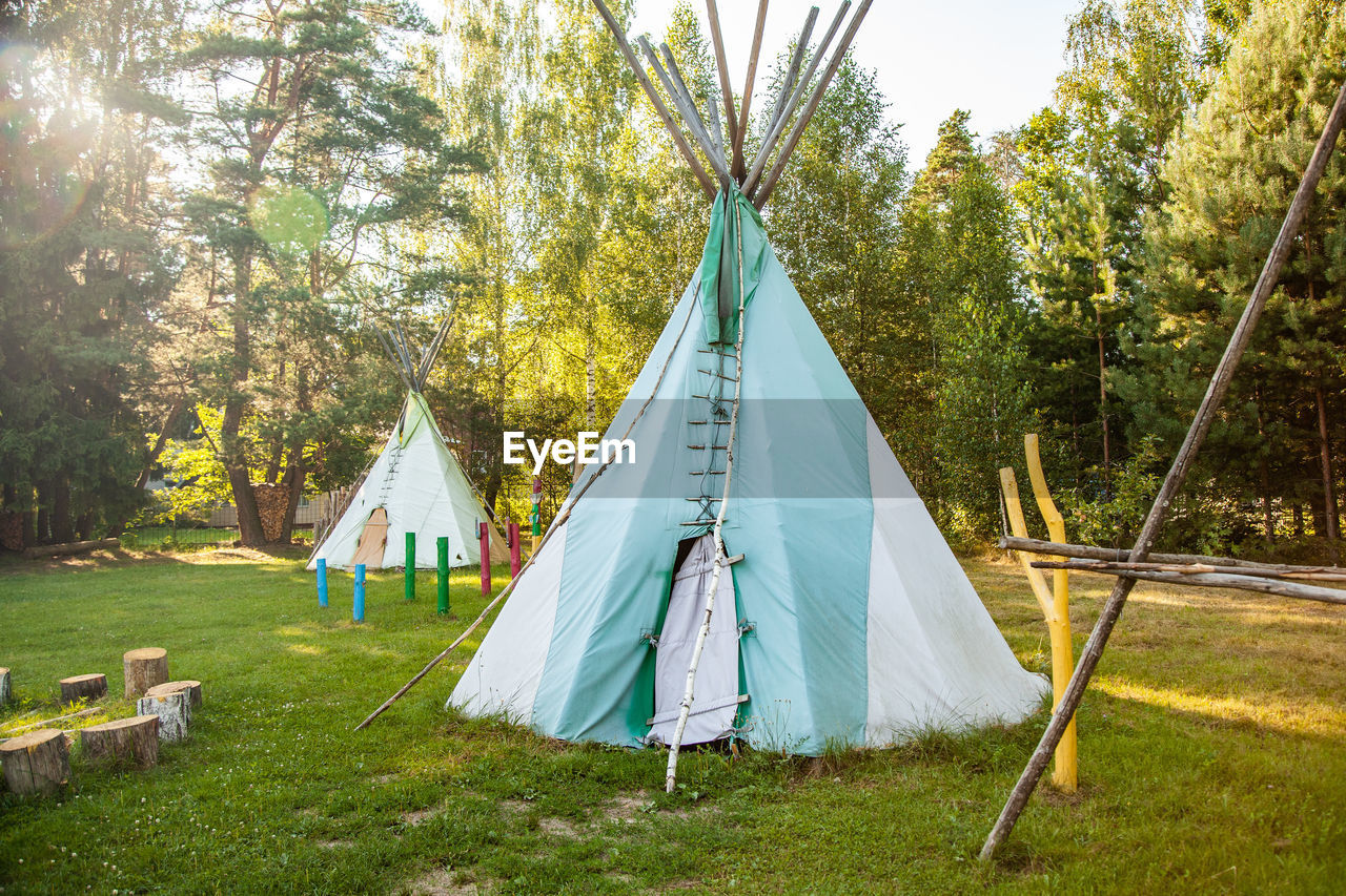 tree, plant, tent, grass, land, nature, day, camping, field, no people, green color, textile, outdoors, hanging, growth, white color, forest, built structure, entertainment tent, architecture