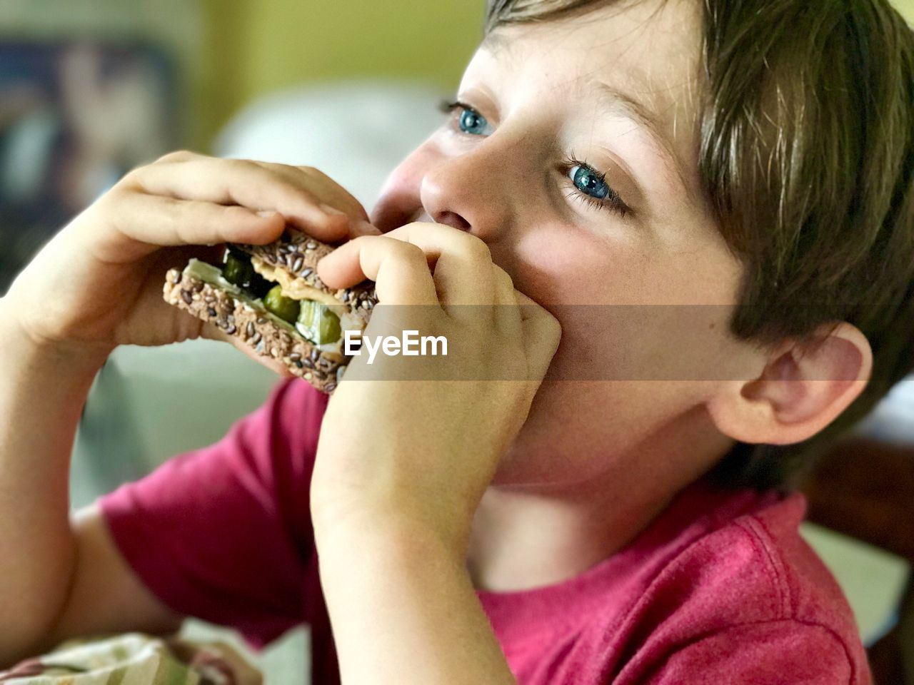 portrait, real people, headshot, close-up, food, food and drink, eating, focus on foreground, one person, child, lifestyles, boys, childhood, sandwich, indoors, holding, looking at camera, teenager, pre-adolescent child