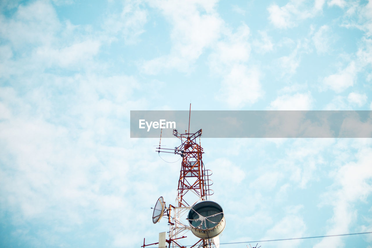 cloud - sky, sky, low angle view, communication, satellite, technology, nature, architecture, day, satellite dish, built structure, no people, antenna - aerial, tower, connection, outdoors, global communications, wireless technology, tall - high, high section