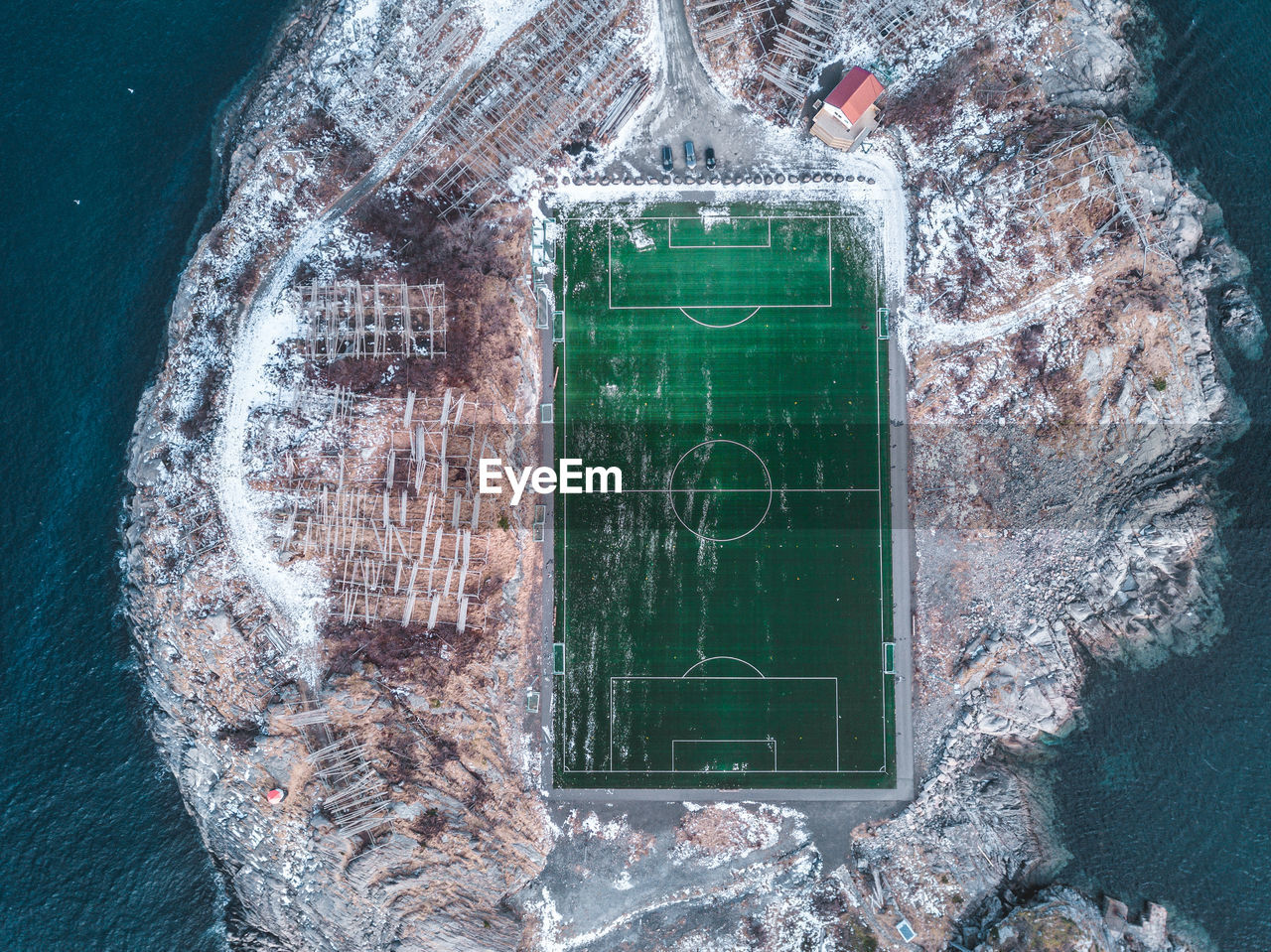 Aerial View Of Soccer Stadium
