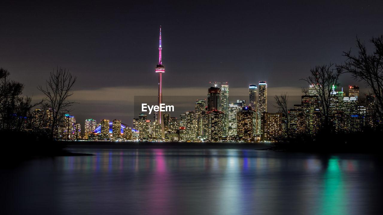 Illuminated Cn Tower In City At Night