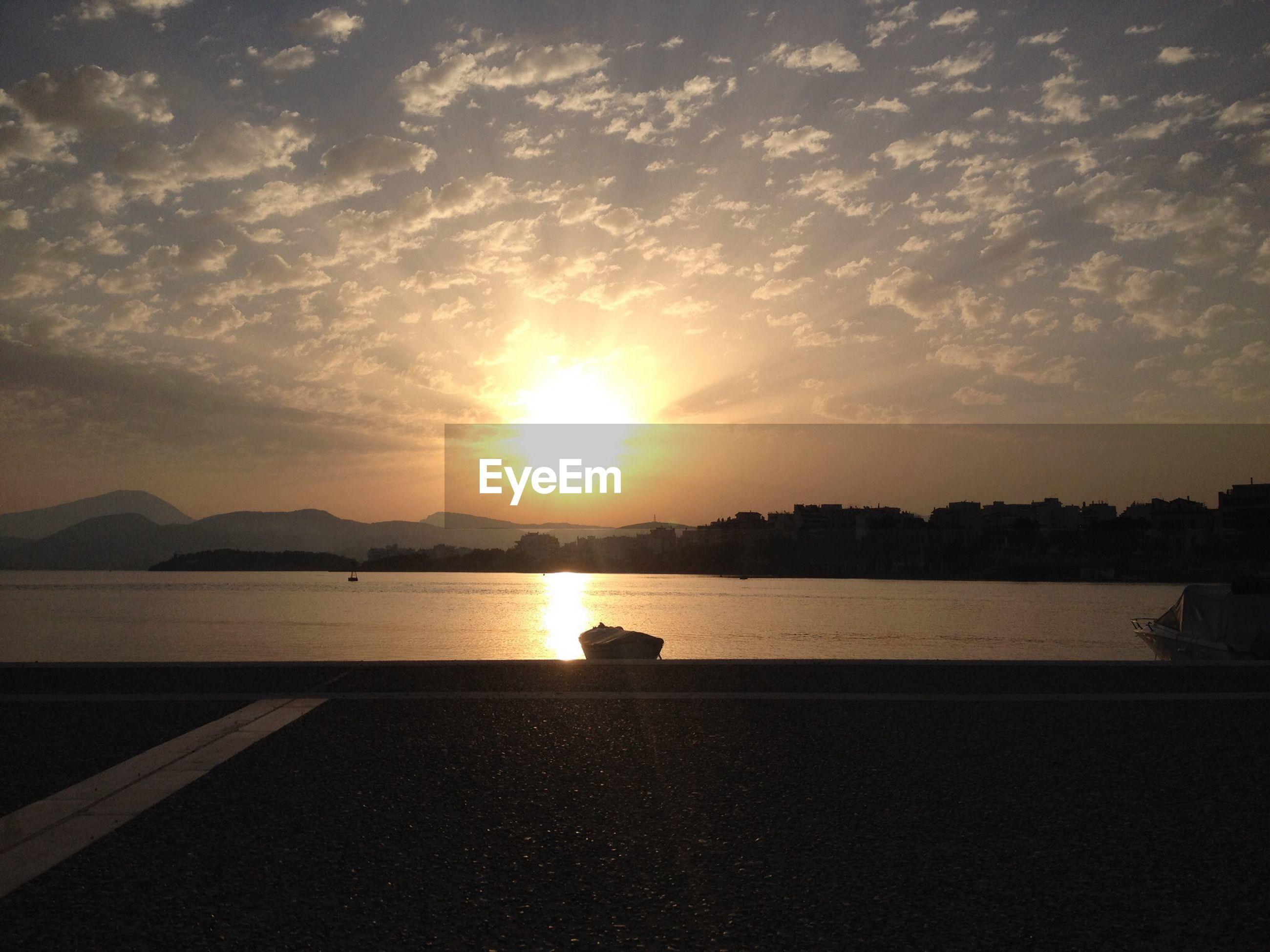 Morning sun reflecting in lake