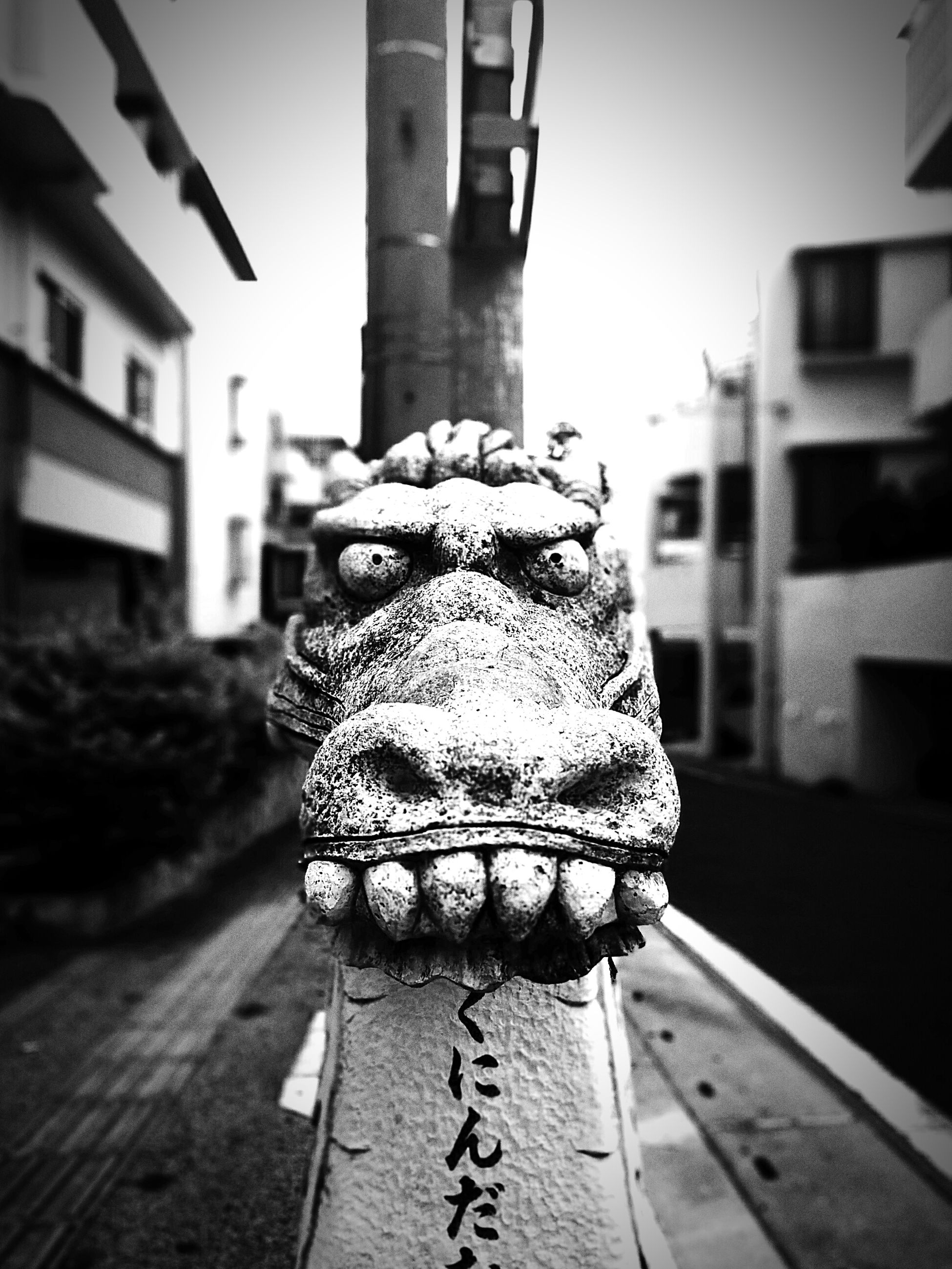 Close-up of dragon statue with text on road