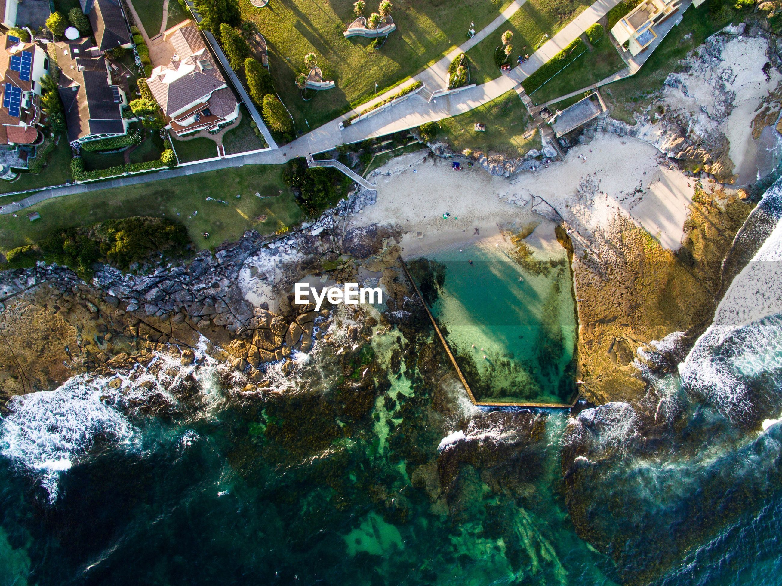 Aerial view of cronulla pool by sea