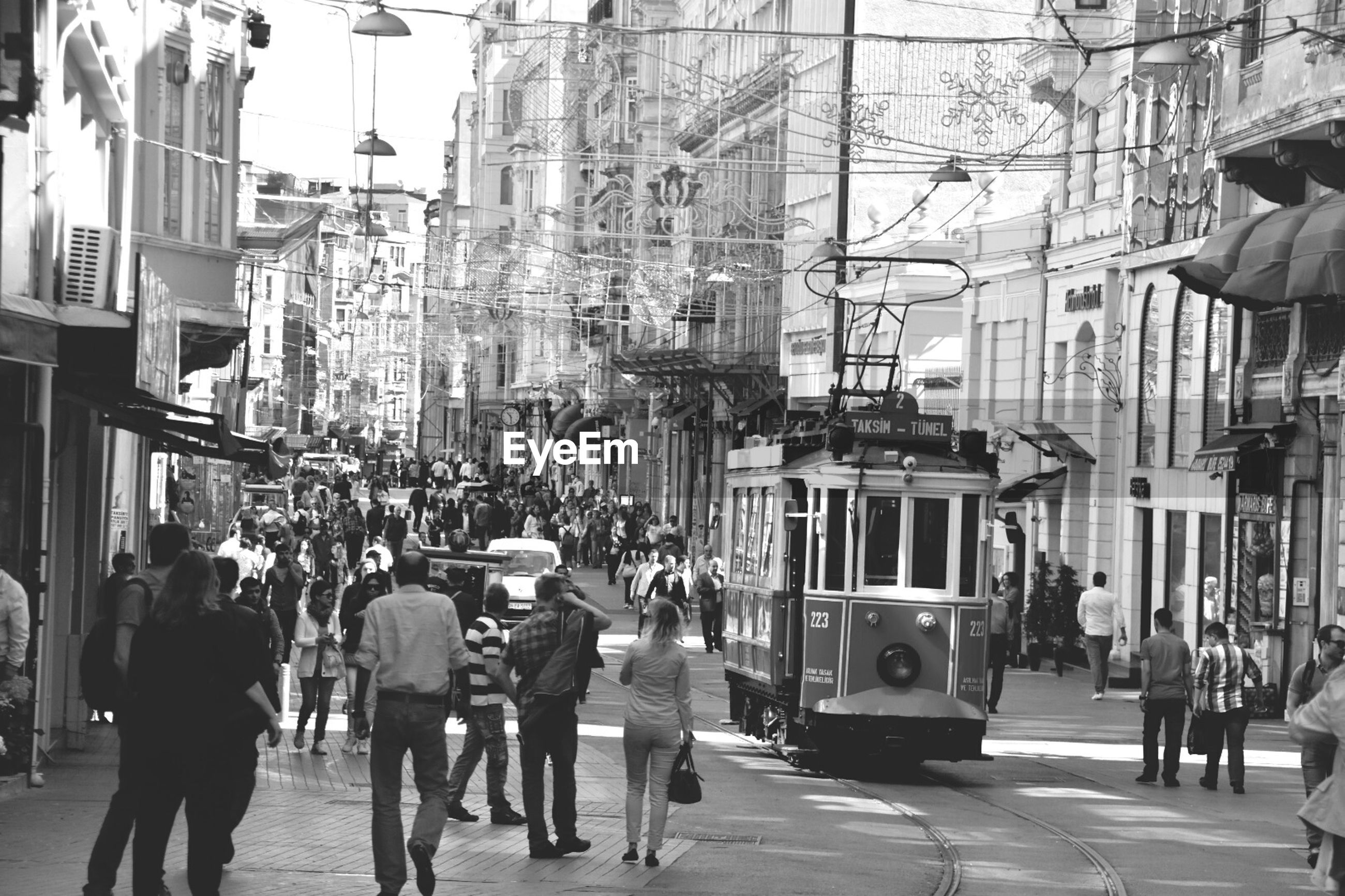 Trams moving on street in city