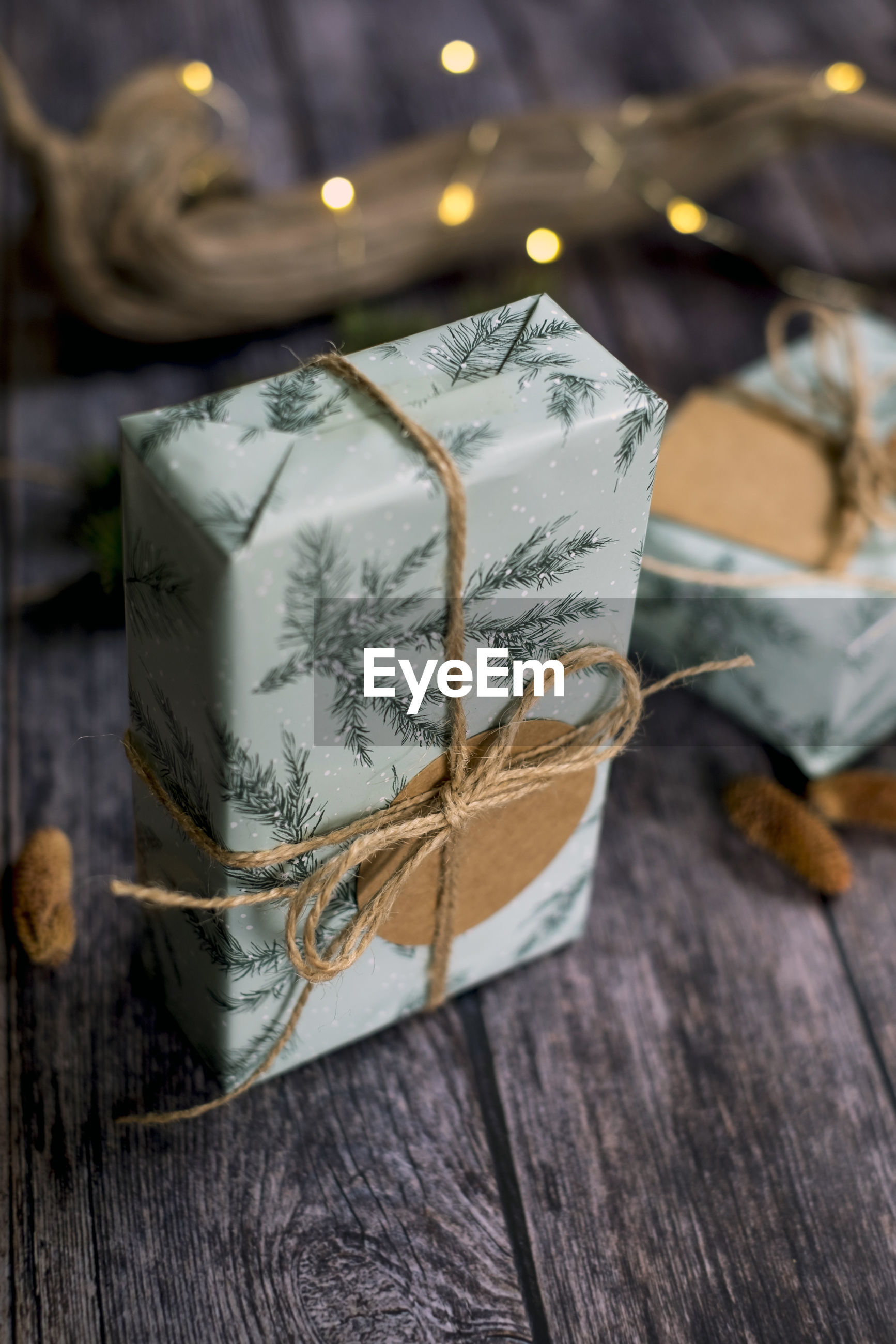 Close-up of christmas gift box on table