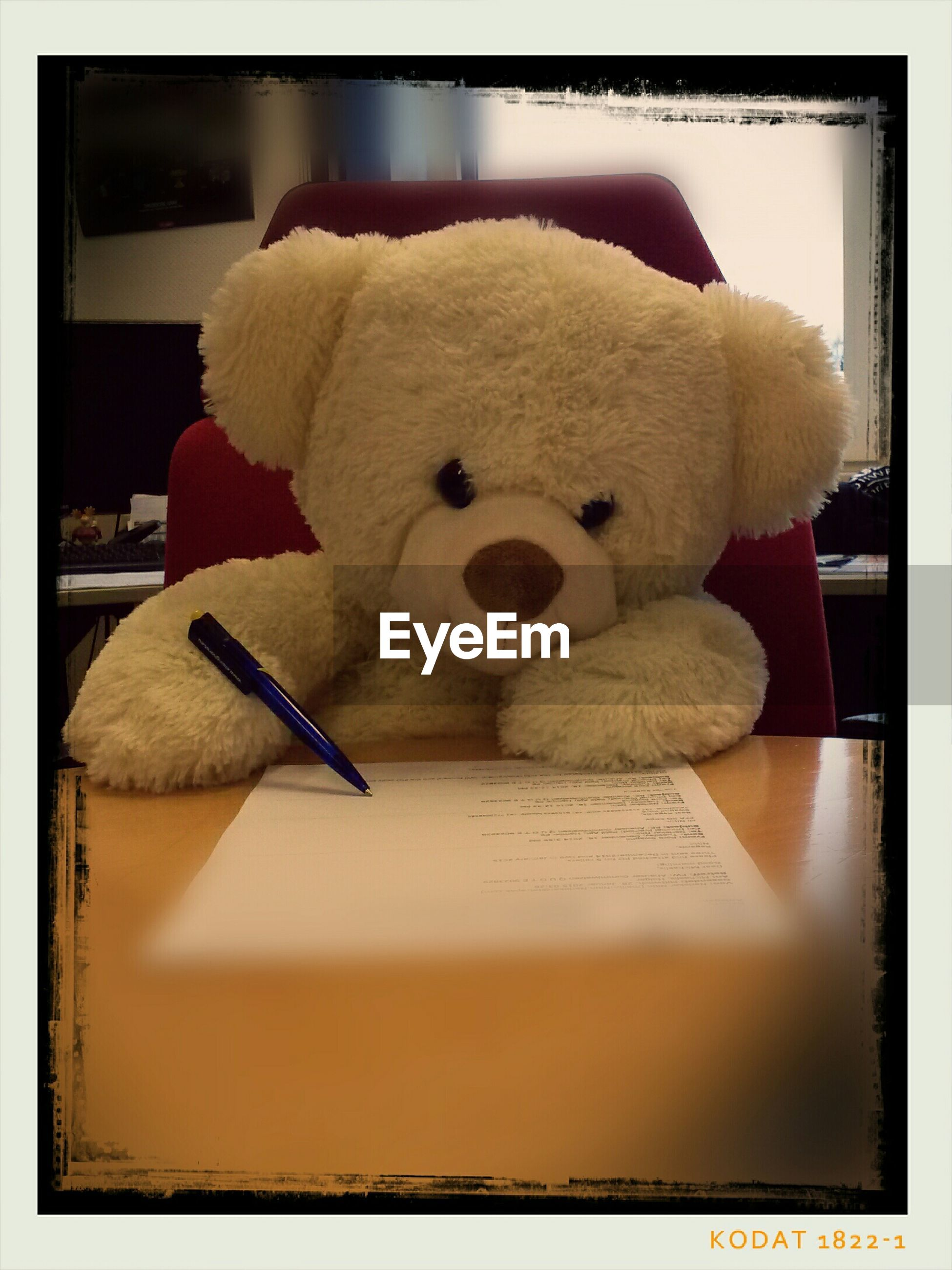 Close-Up Of Teddy Bear Writing On Paper