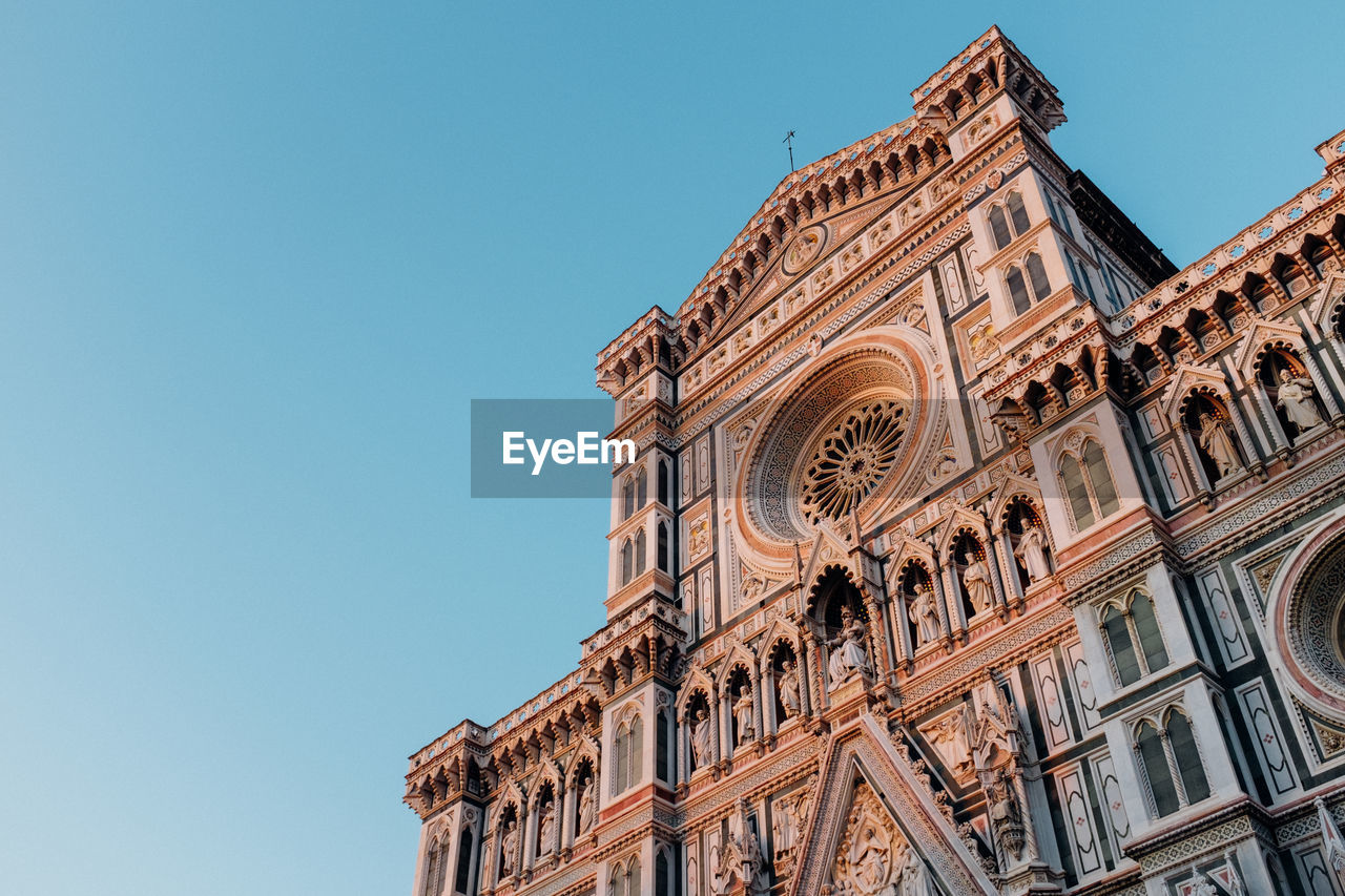 Low Angle View Of Florence Cathedral Against Clear Blue Sky