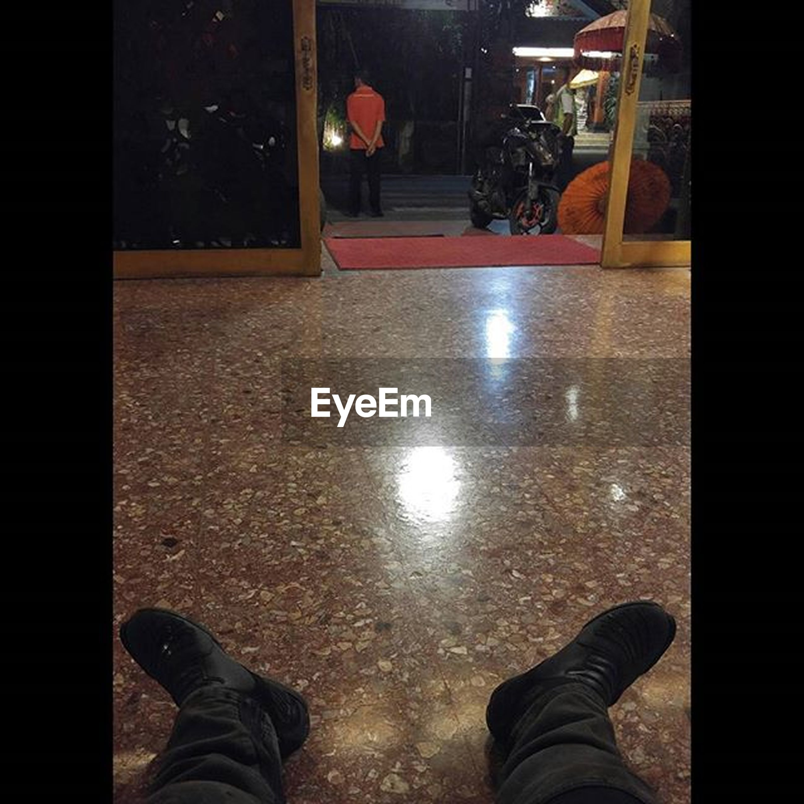 low section, person, indoors, shoe, personal perspective, standing, lifestyles, men, human foot, flooring, unrecognizable person, floor, leisure activity, auto post production filter, transfer print, night, footwear