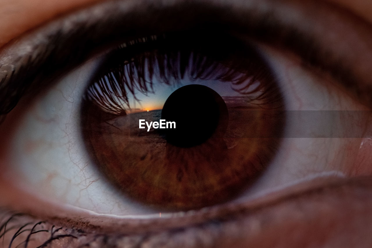 Extreme close-up of human eye with sunset on the sea