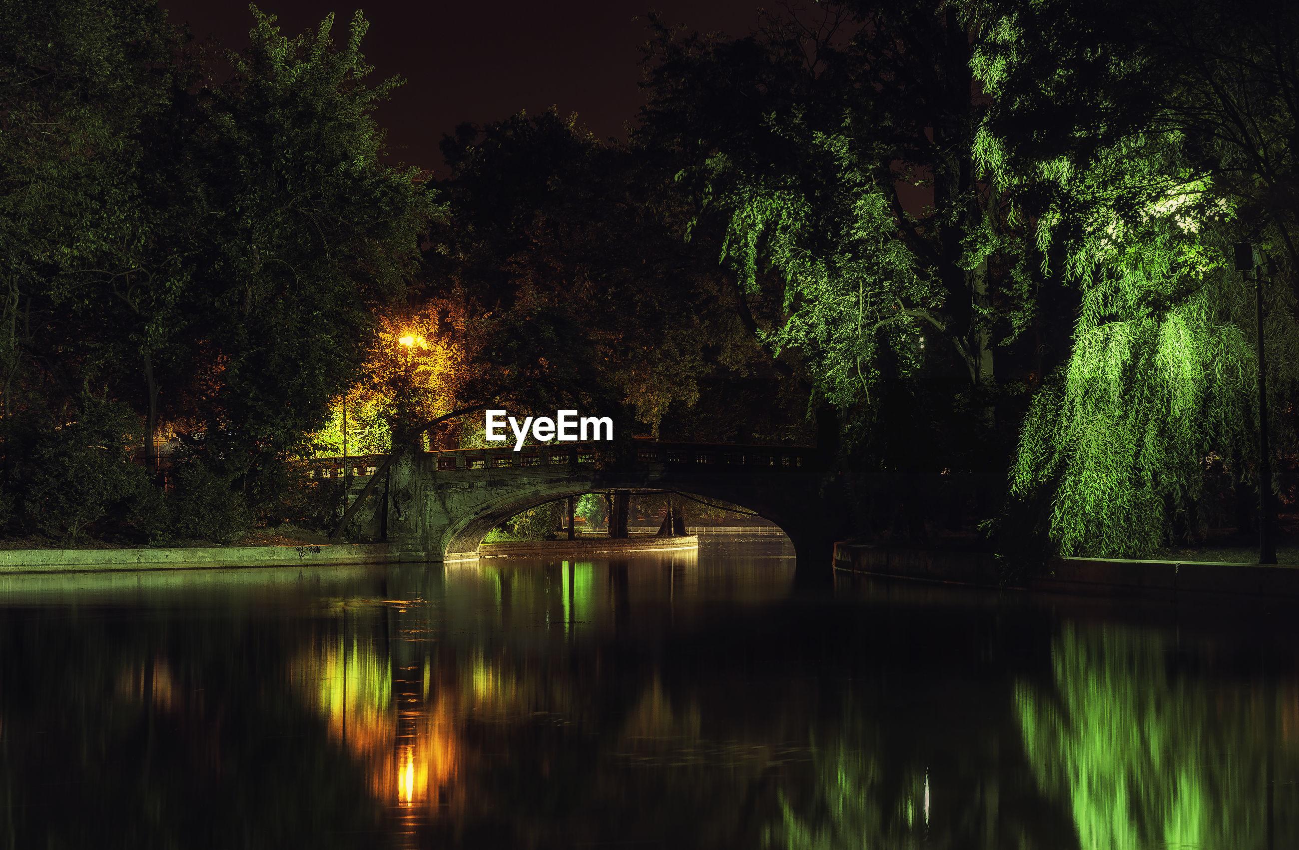 VIEW OF CALM LAKE AT NIGHT