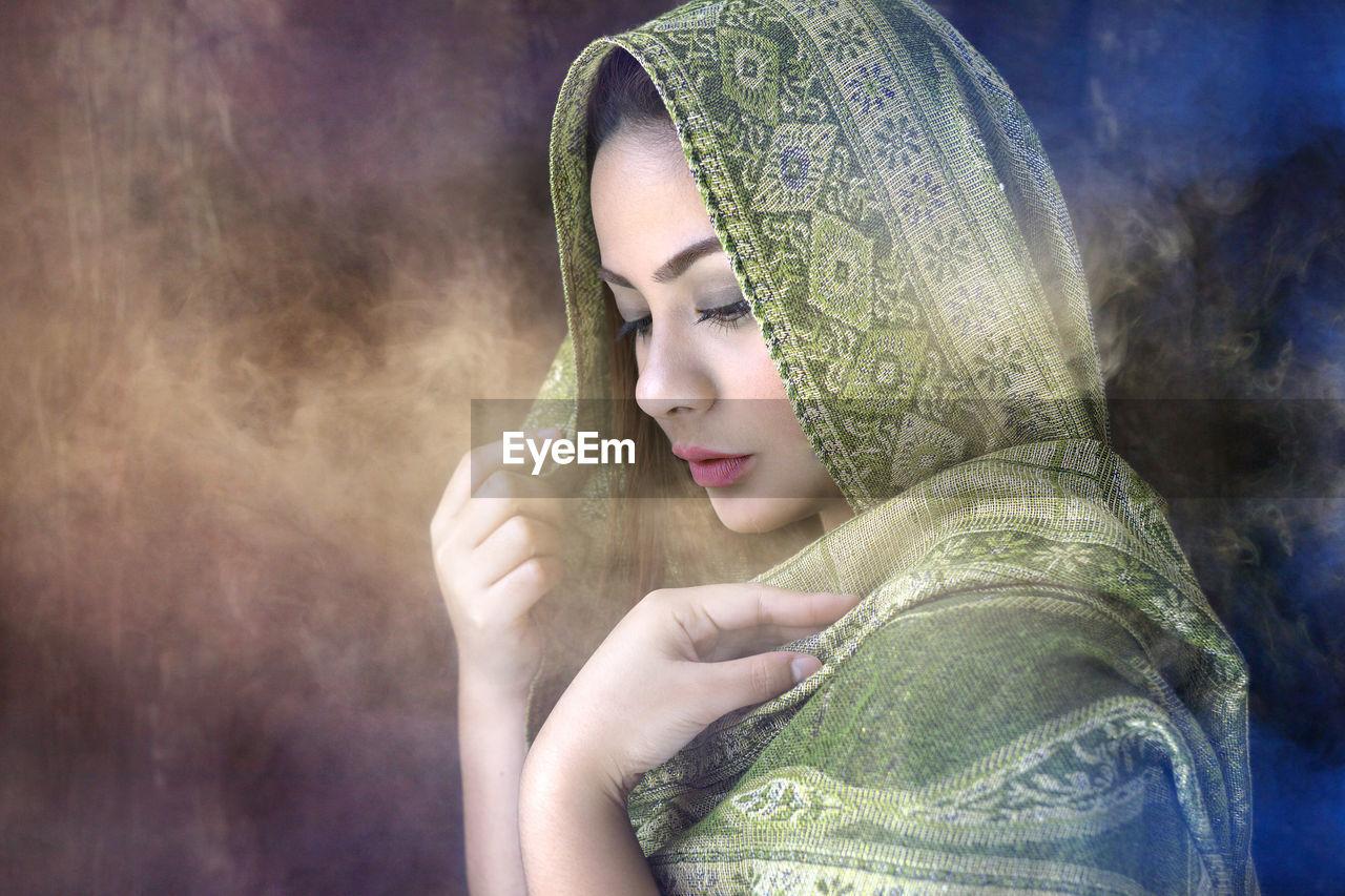 Close-Up Portrait Of Woman Wearing Hijab