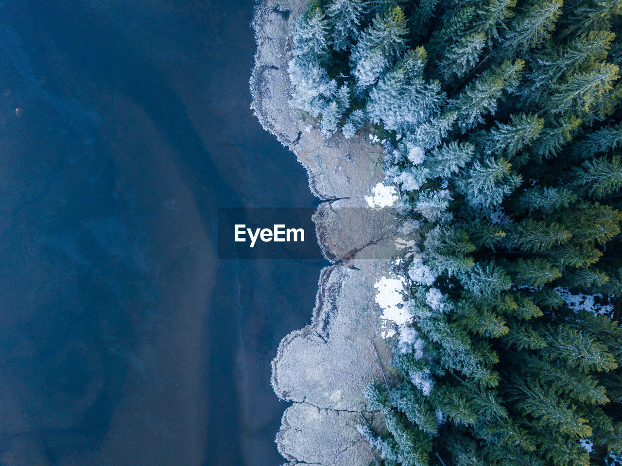High Angle View Of Sea And Trees During Winter